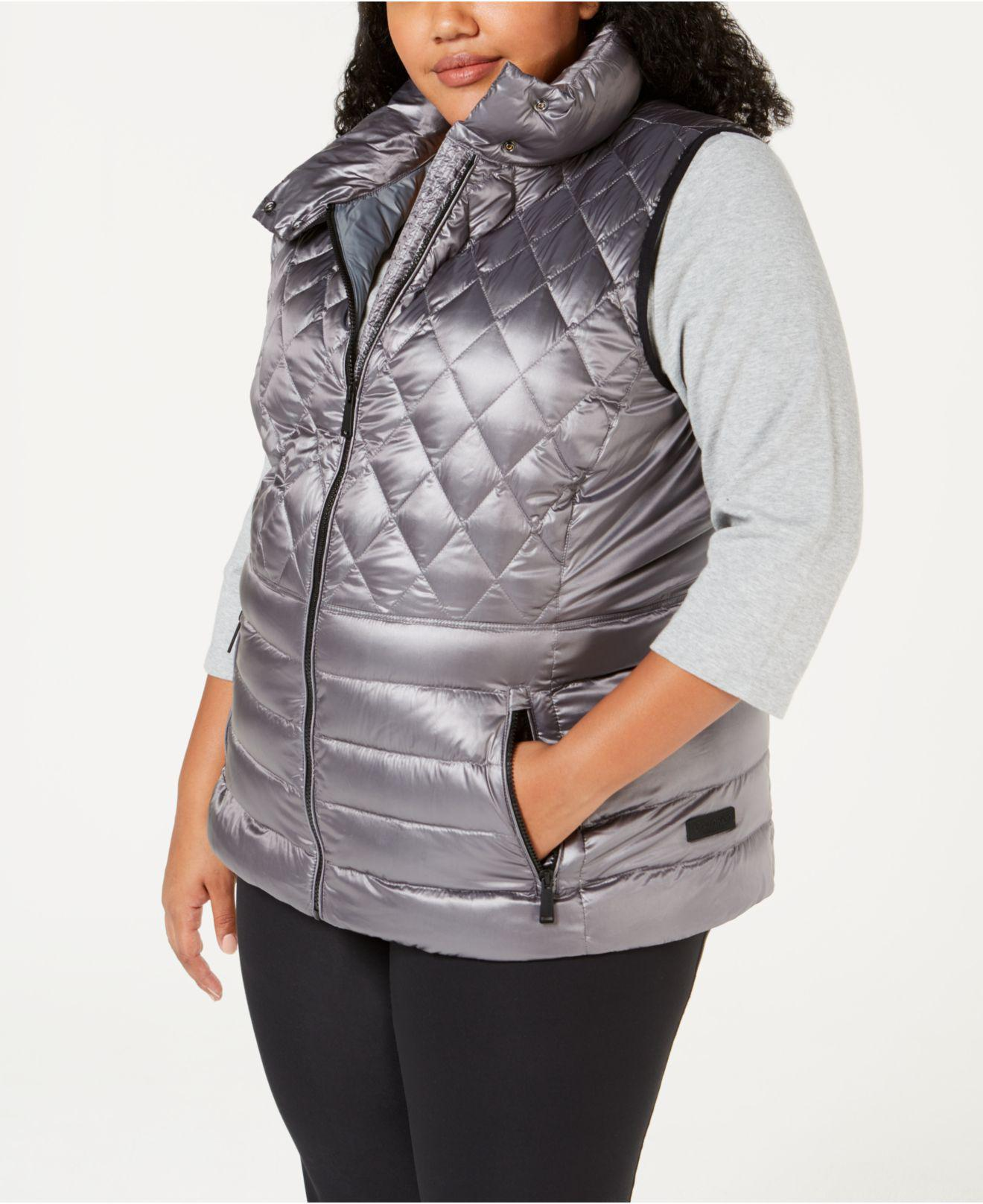 e1e5614001b1c Lyst - Calvin Klein Performance Plus Size Quilted Metallic Down Vest ...