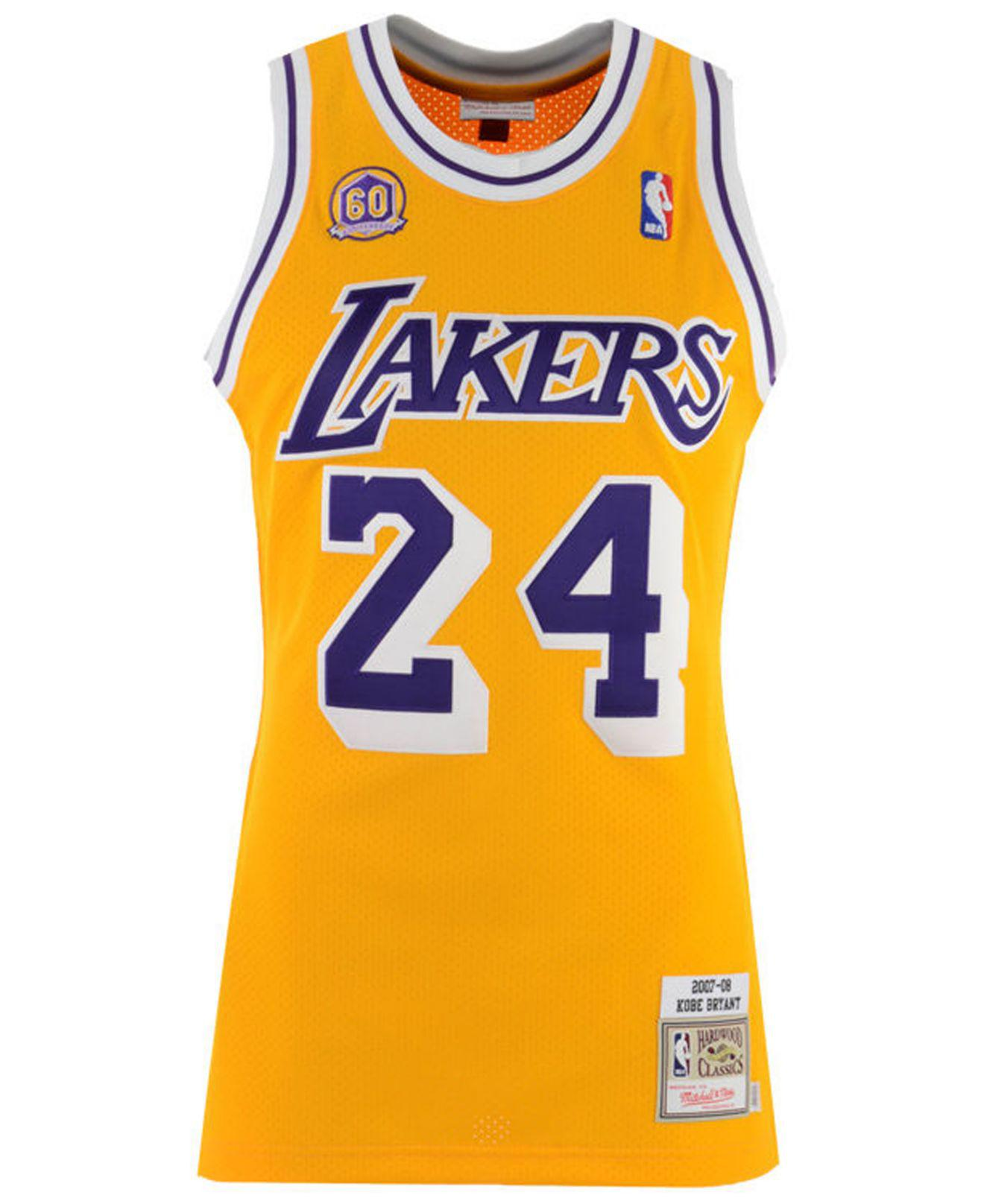 aa7bf86ea Mitchell   Ness Kobe Bryant Los Angeles Lakers Authentic Jersey in Metallic  for Men - Lyst