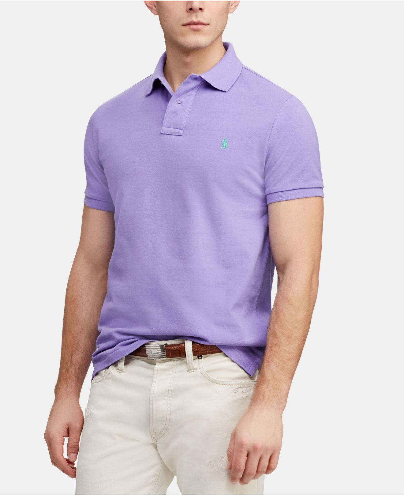 d8e50eae Lyst - Polo Ralph Lauren Custom Slim Fit Mesh Polo in Purple for Men