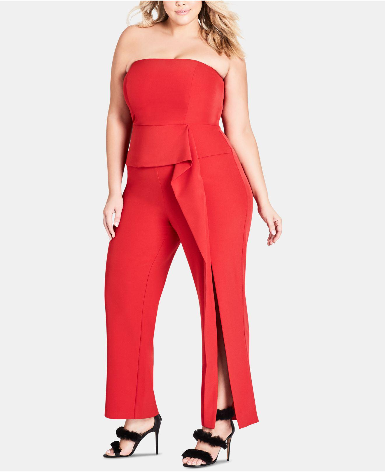 a2c35039a4 Lyst - City Chic Trendy Plus Size Twister Jumpsuit in Red