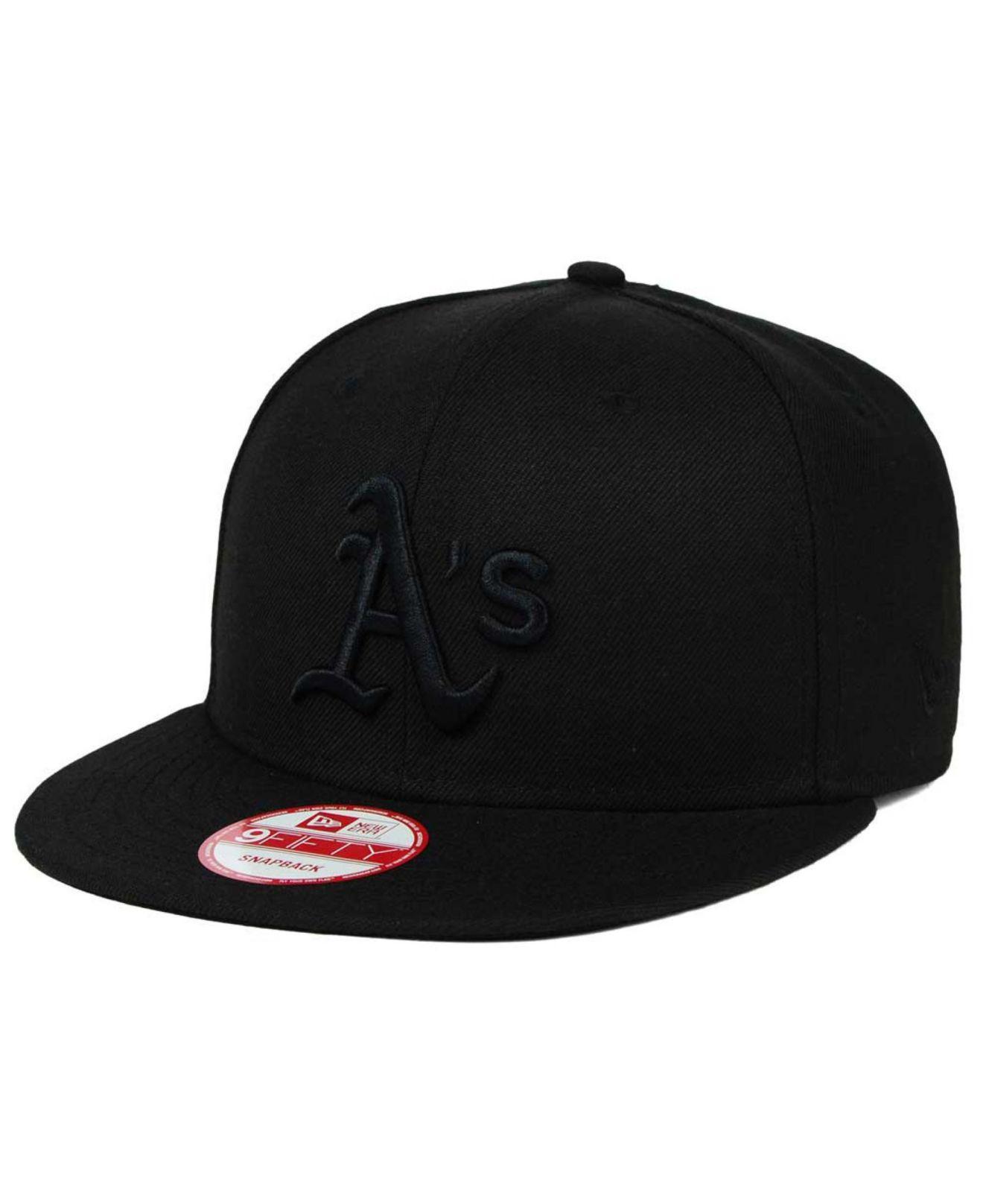7b310c3fb33 Lyst - KTZ Oakland Athletics Black On Black 9fifty Snapback Cap in ...