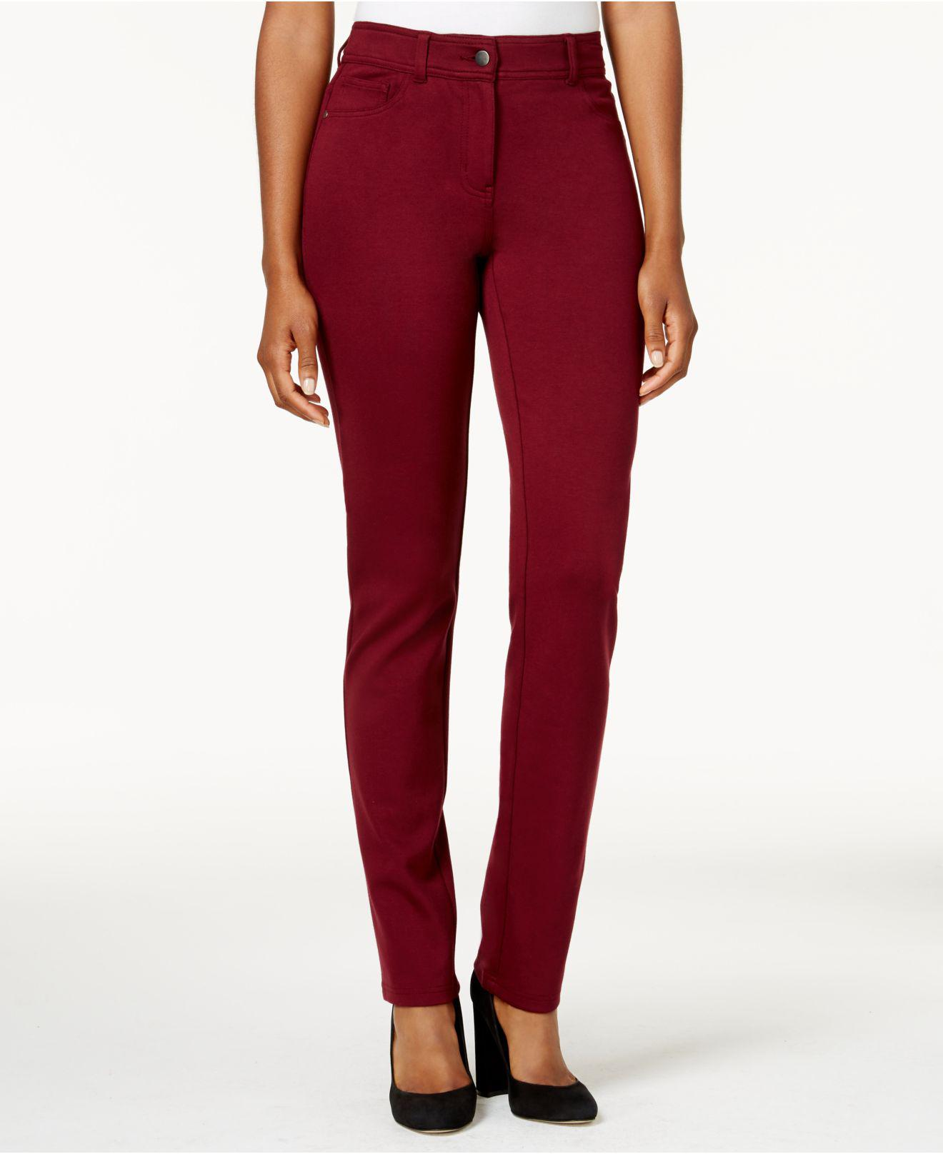 907ebe07091f44 Style /& Co........ Petite Curvy Skinny Jeggings Pants in Deep Scarlet  Holiday presents