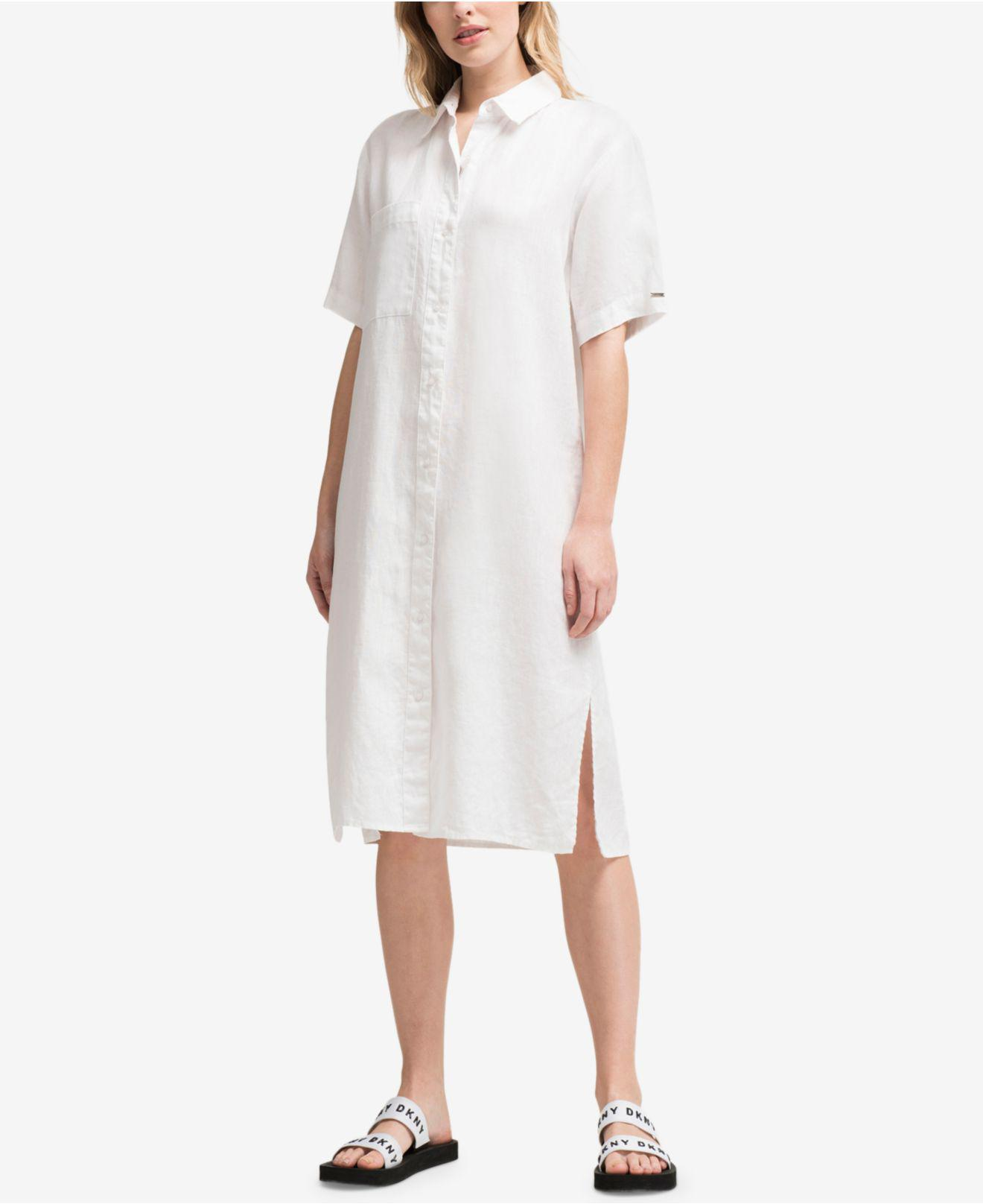 07cf96ed38c Gallery. Previously sold at  Macy s · Women s White Linen Dresses ...