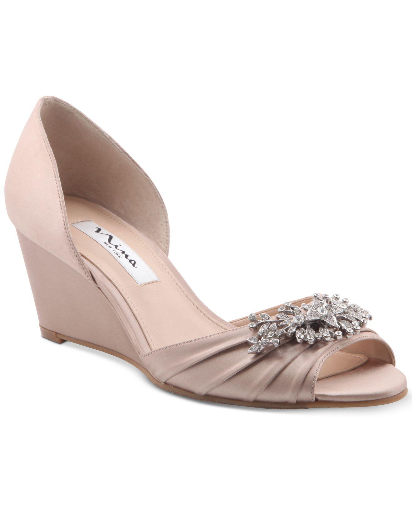 NINA Emiko Embellished Evening Wedges Women's Shoes 4UEjNBhSt