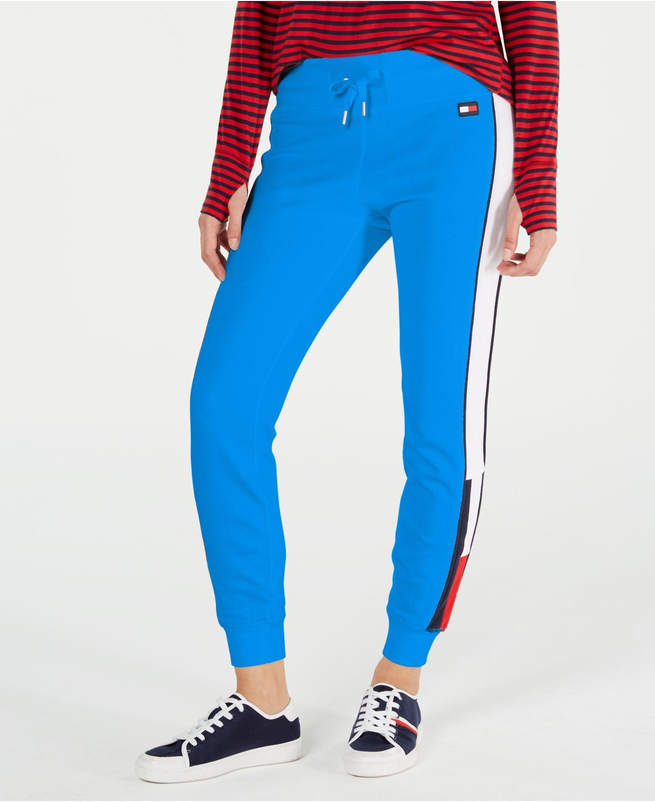 60fd3c707442 Tommy Hilfiger Sport Logo French Terry Jogger Pants in Blue - Lyst