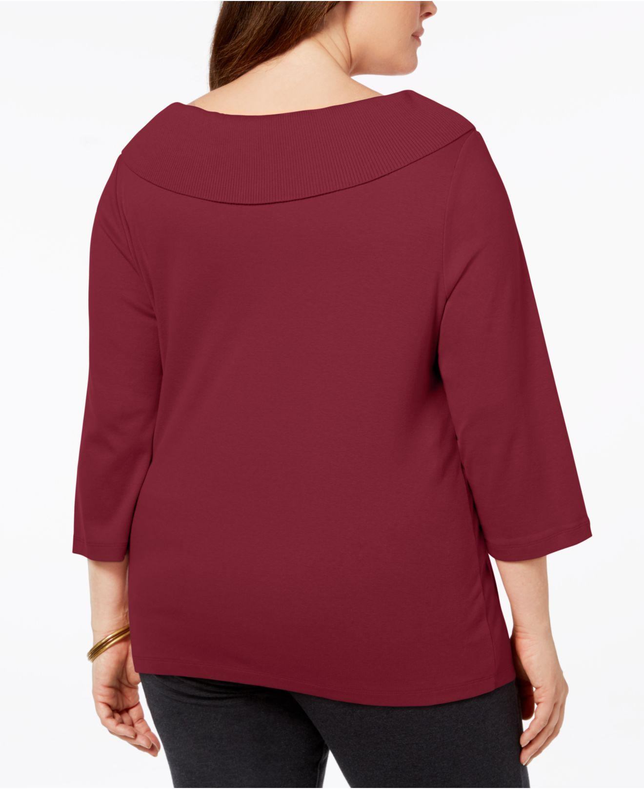 486cfda77e7c4 Lyst - Karen Scott Plus Size Cotton Boat-neck Top