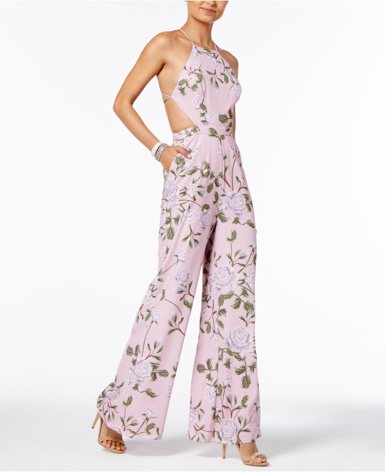 Lyst Fame Partners Freesia Halter Jumpsuit In Pink