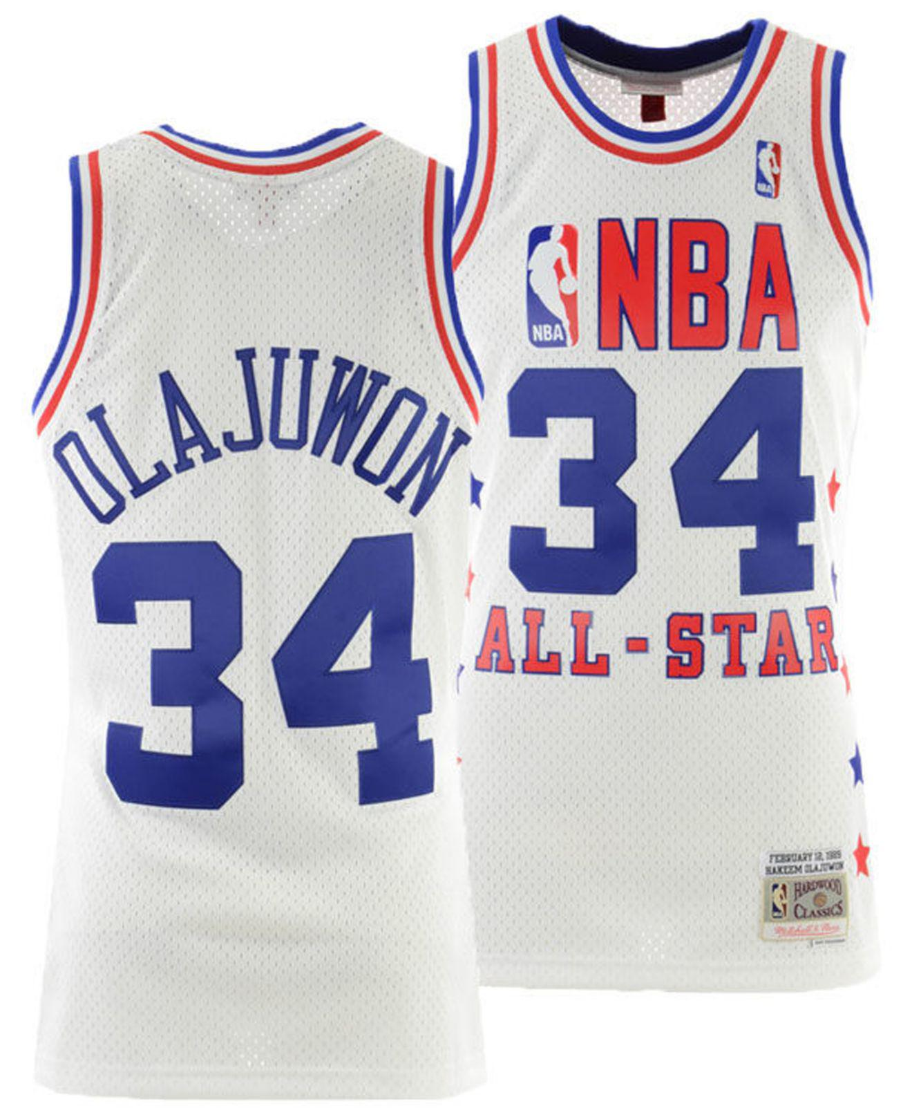 781665173 Mitchell   Ness. Men s Blue Hakeem Olajuwon Nba All Star 1989 Swingman  Jersey
