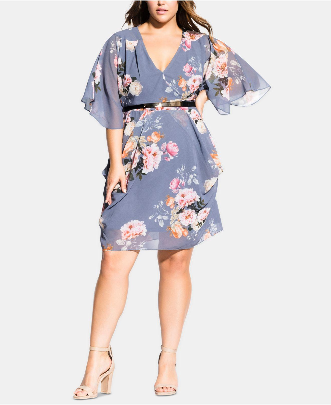 9444e8b2079a City Chic Trendy Plus Size Florence Belted Wrap Dress in Blue - Lyst