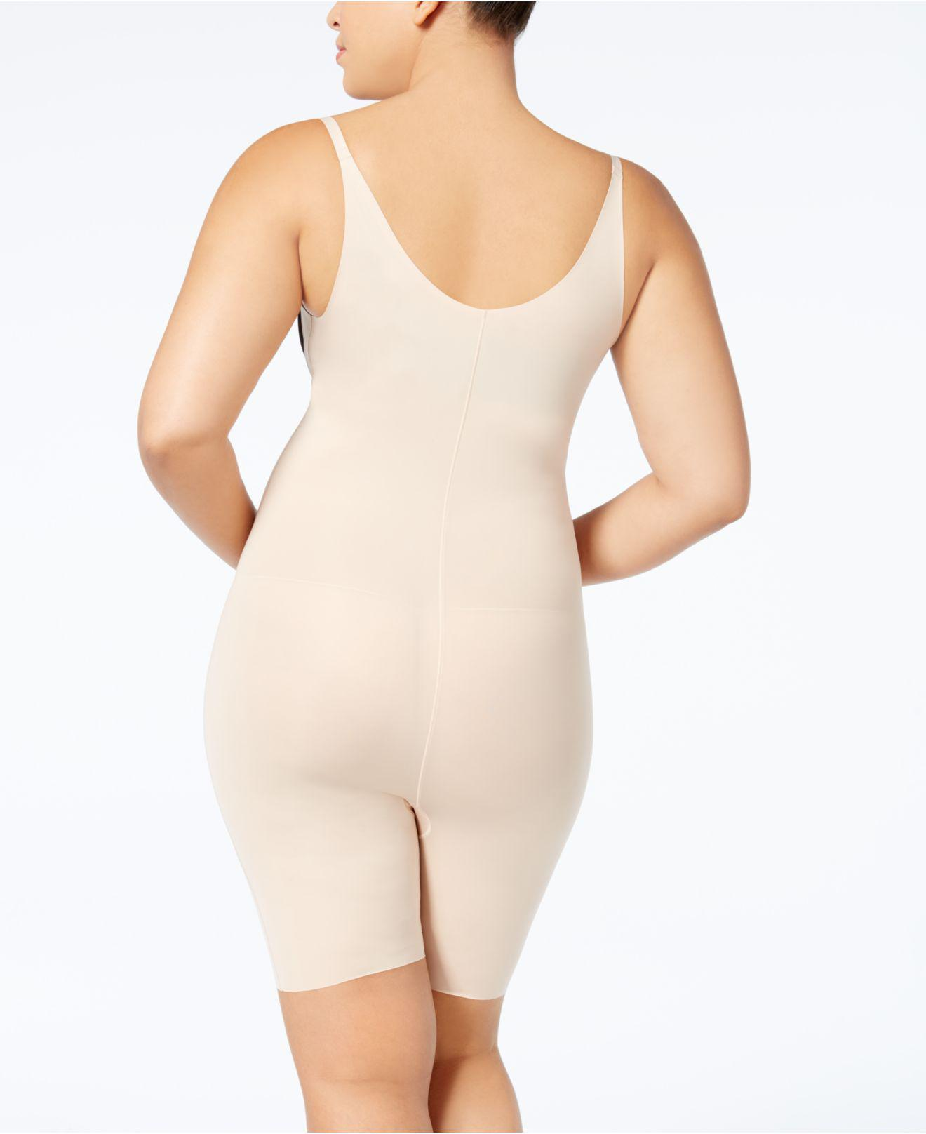 5817edfea Lyst - Spanx Firm-control Plus Size Open-bust Mid-thigh Bodysuit 10021p in  Natural