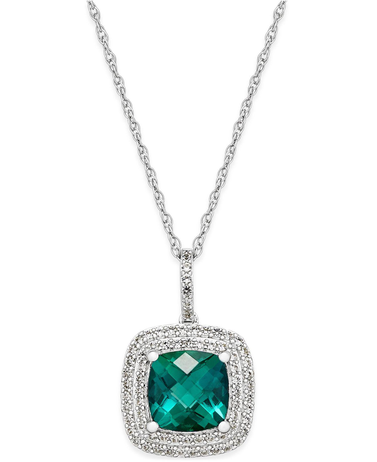 Lyst macys lab created emerald 1 12 ct tw and white macys womens metallic lab created emerald mozeypictures Image collections
