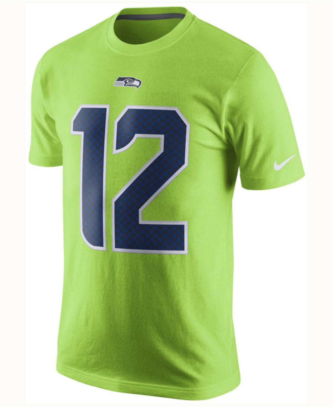 7a882cc14 Lyst - Nike Men s Fan  12 Seattle Seahawks Color Rush Name   Number T-shirt  in Green for Men