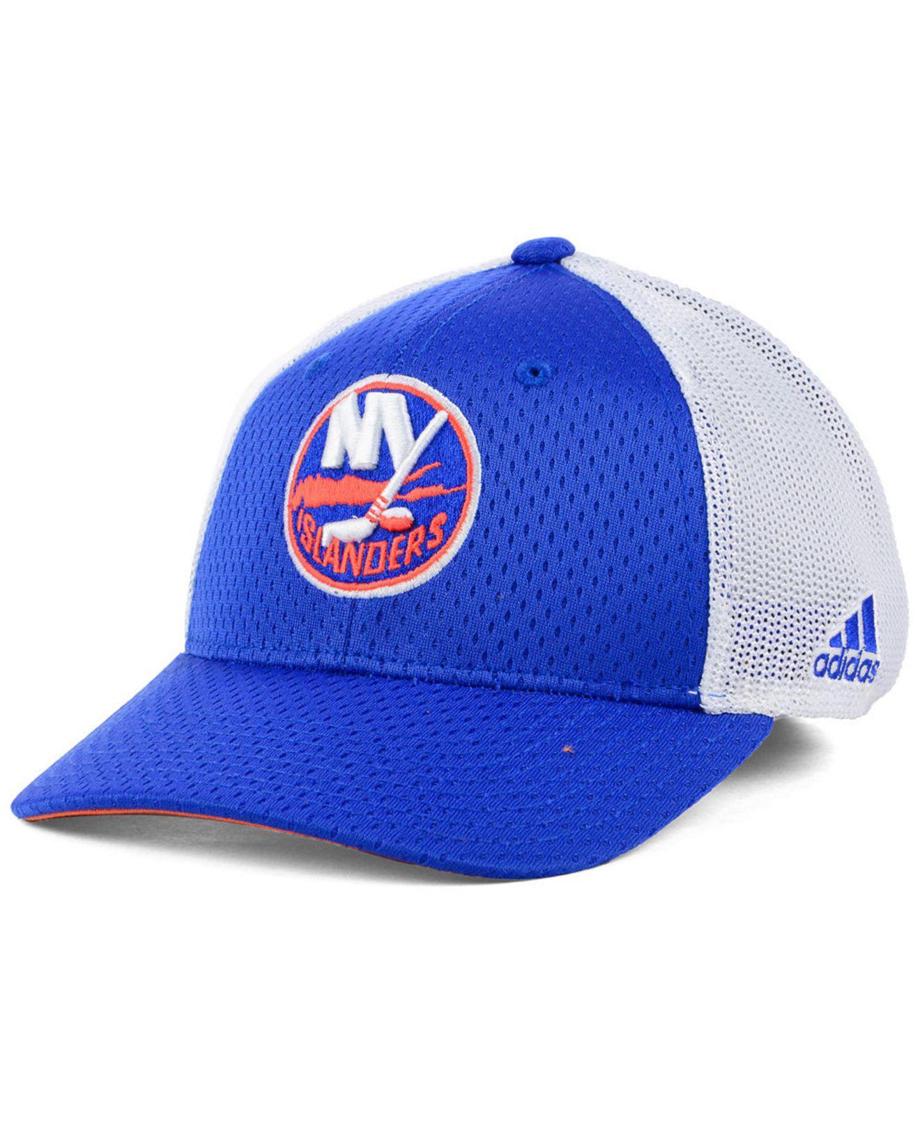 brand new d1137 763be ... sweden adidas white new york islanders nhl mesh flex cap for men lyst.  view fullscreen