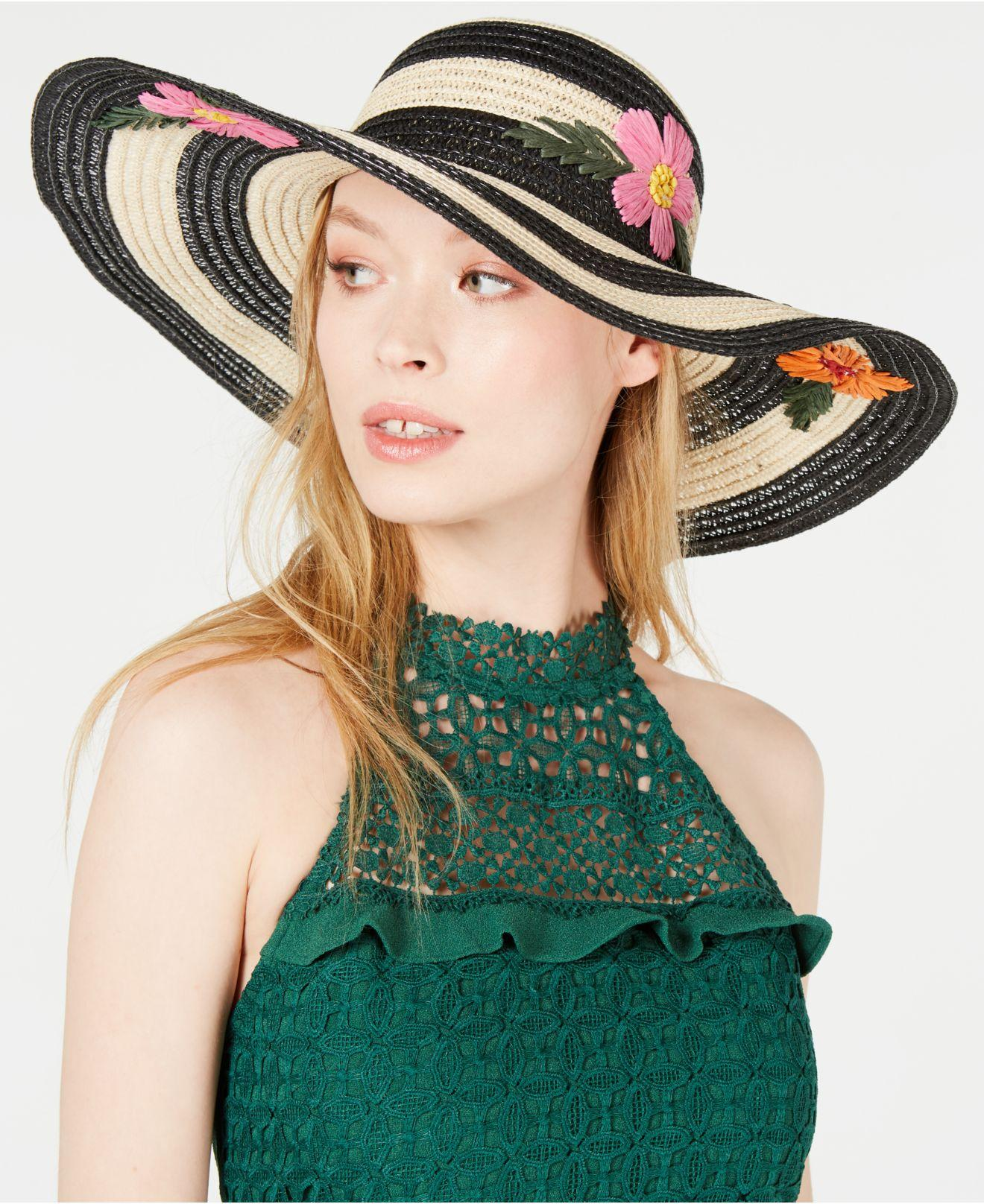 5d8787f4dfc58c Lyst - Betsey Johnson Floral Bliss Floppy Hat in Black