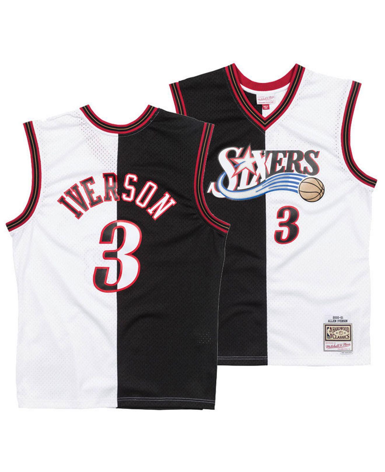 1d1fd80fe15 Mitchell   Ness. Men s Black Allen Iverson Philadelphia 76ers Split  Swingman Jersey