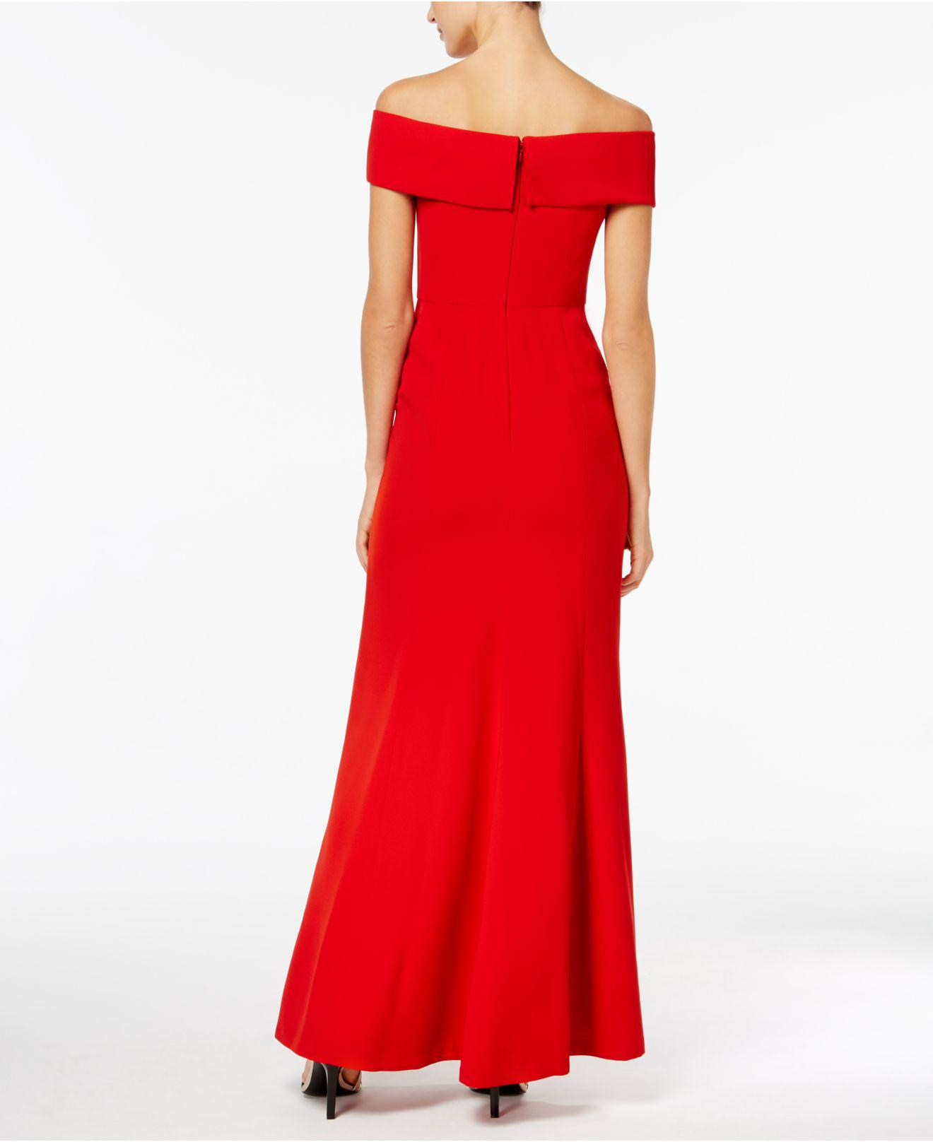 3dea888bc679 Lyst - CALVIN KLEIN 205W39NYC Foldover Off-the-shoulder Gown in Red