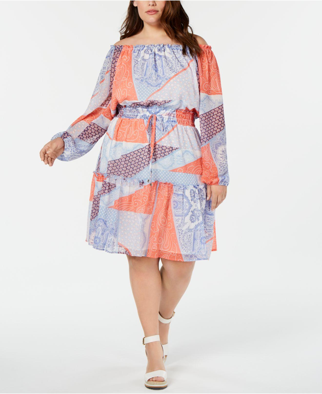 6a1154a073 Lyst - Tommy Hilfiger Plus Size Printed Off-the-shoulder Dress in Blue