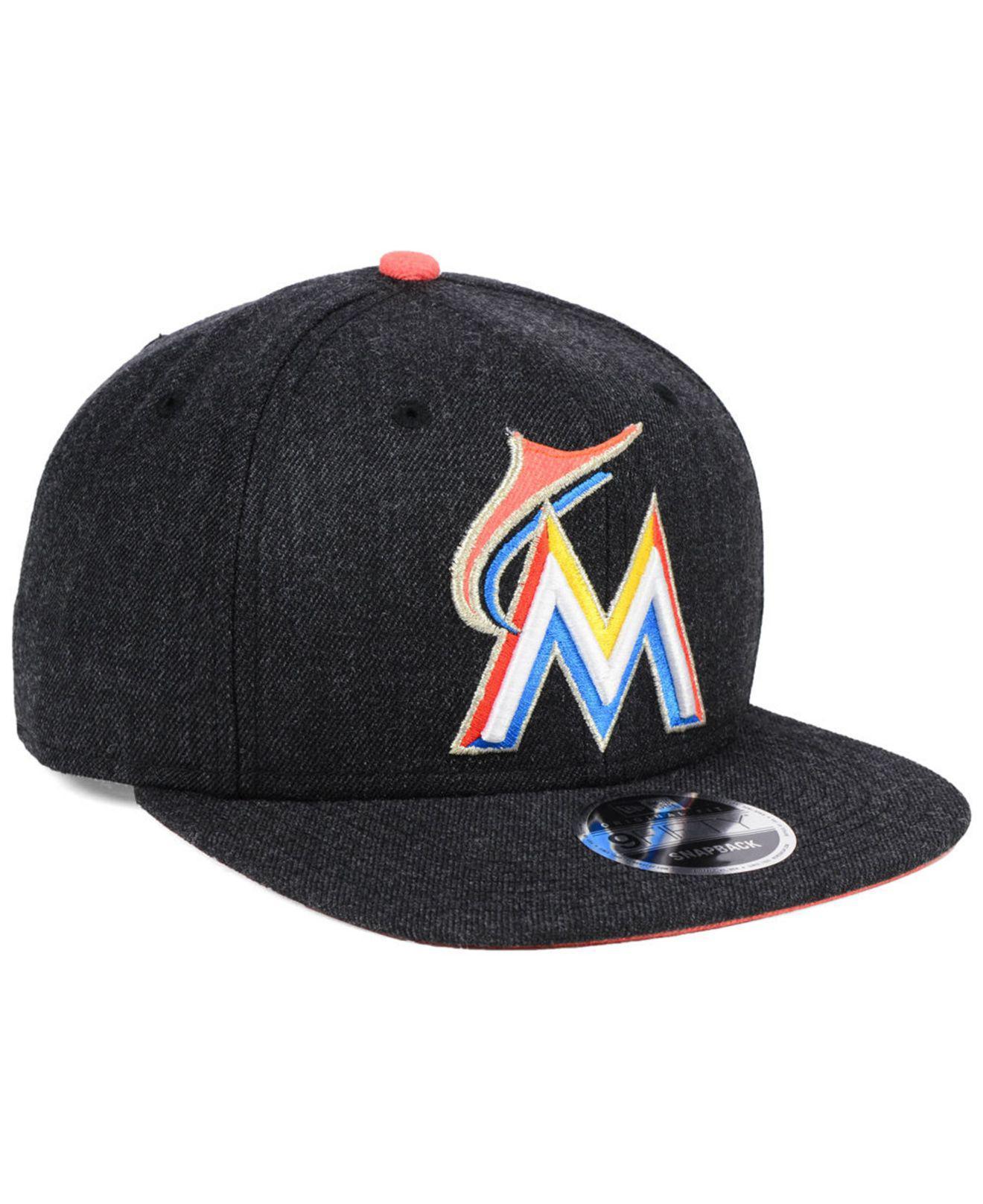 e0522ef7d4bb9 ... new zealand miami marlins heather hype 9fifty snapback cap for men lyst.  view fullscreen 46a24