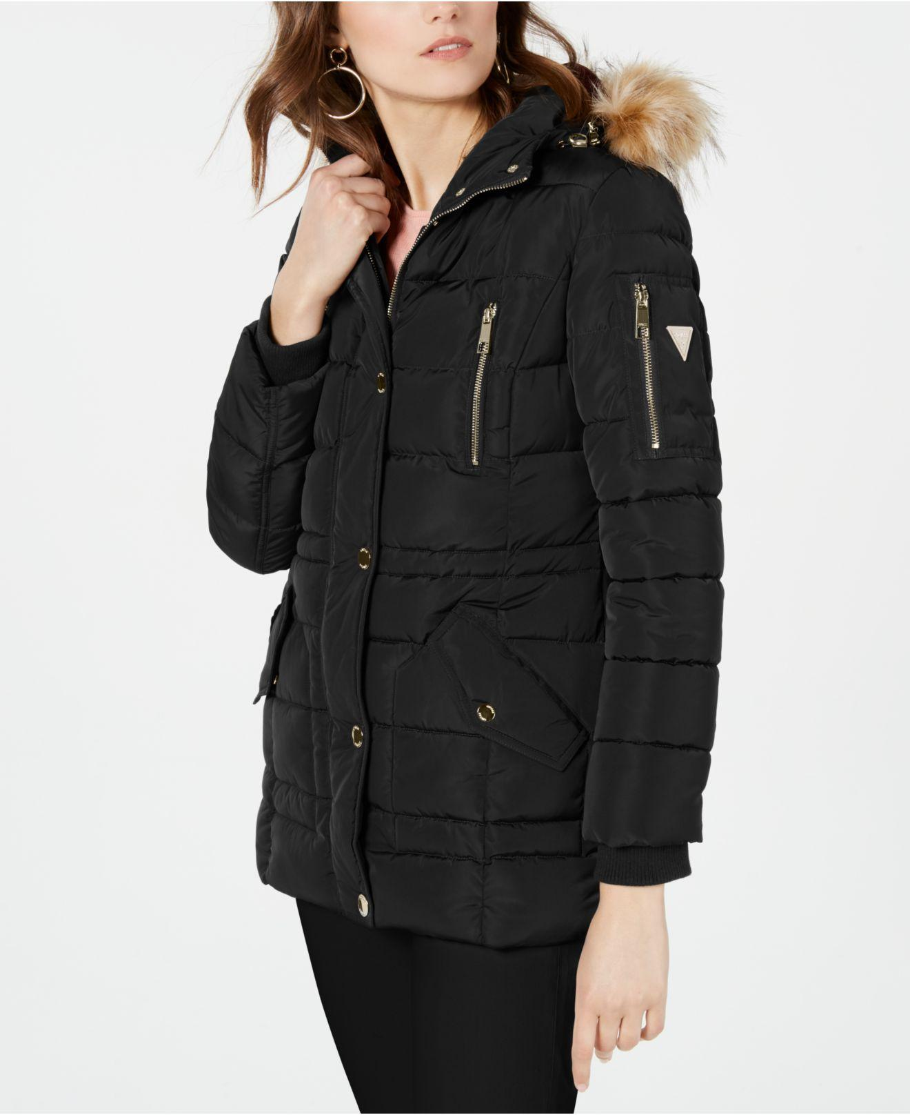 Guess Hooded Faux Fur Trim Puffer Coat Created For Macy S