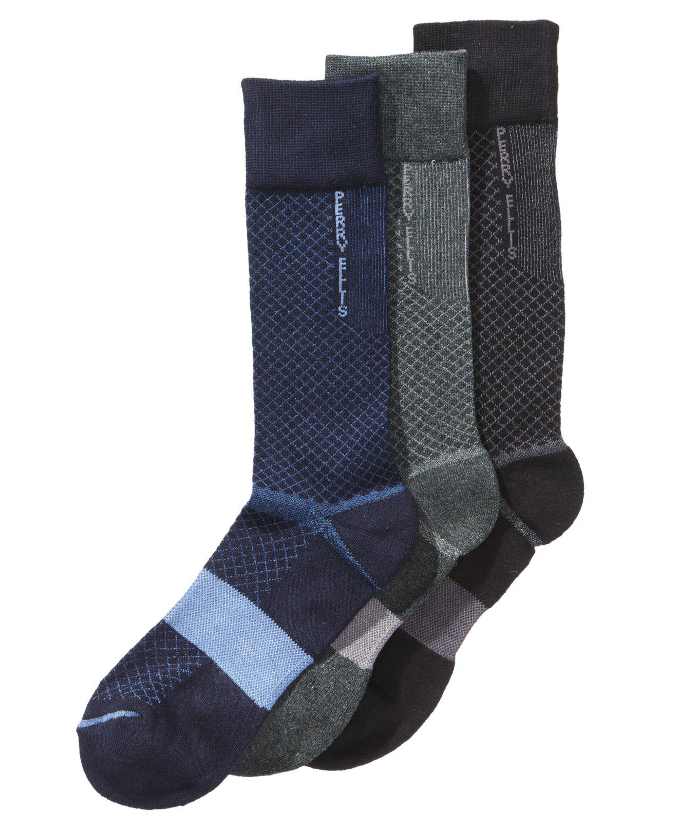 4cd5a64b29 Lyst - Perry Ellis Men s 3-pk. C-fit Performance Dress Socks in Gray ...