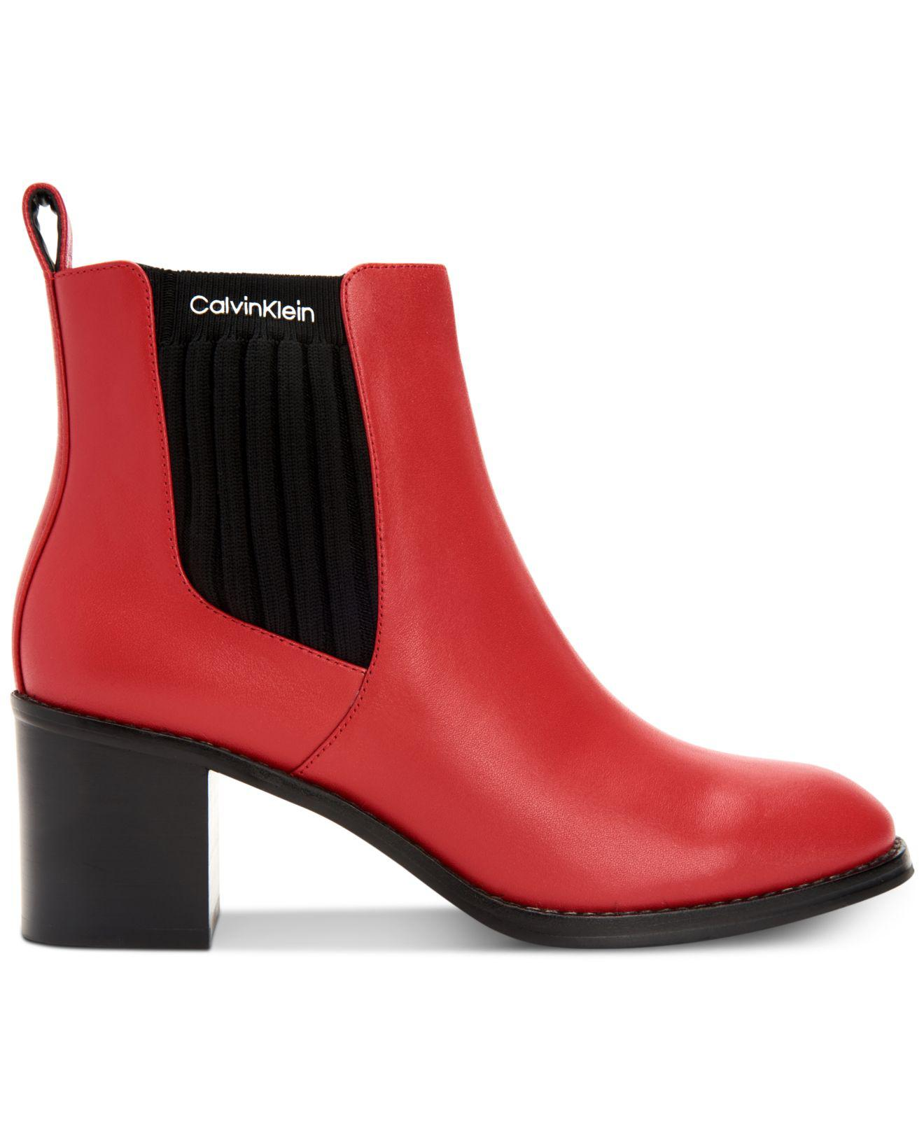 1e84a0d7eac Lyst - Calvin Klein Perron Booties in Red