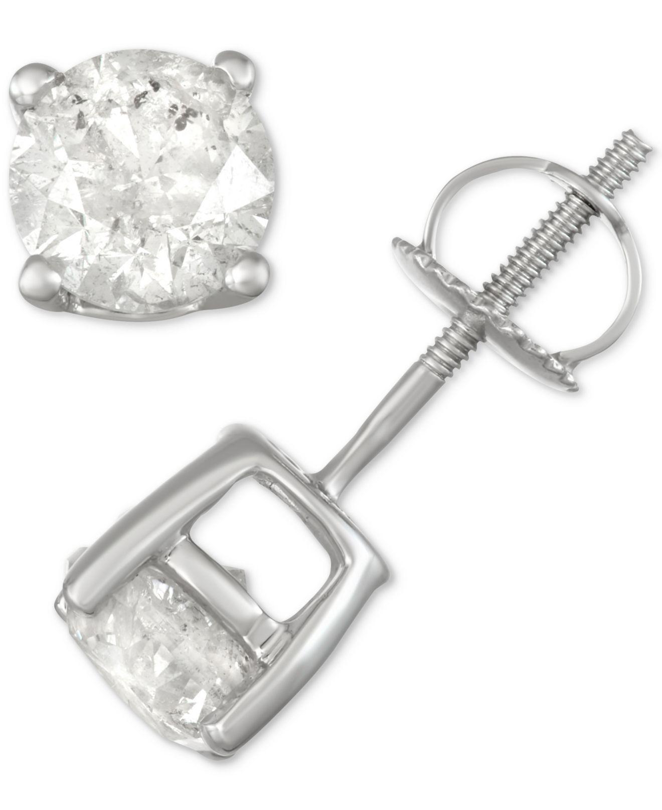 Lyst Macy S Diamond Stud Earrings 1 1 2 Ct T W In 14k White Gold