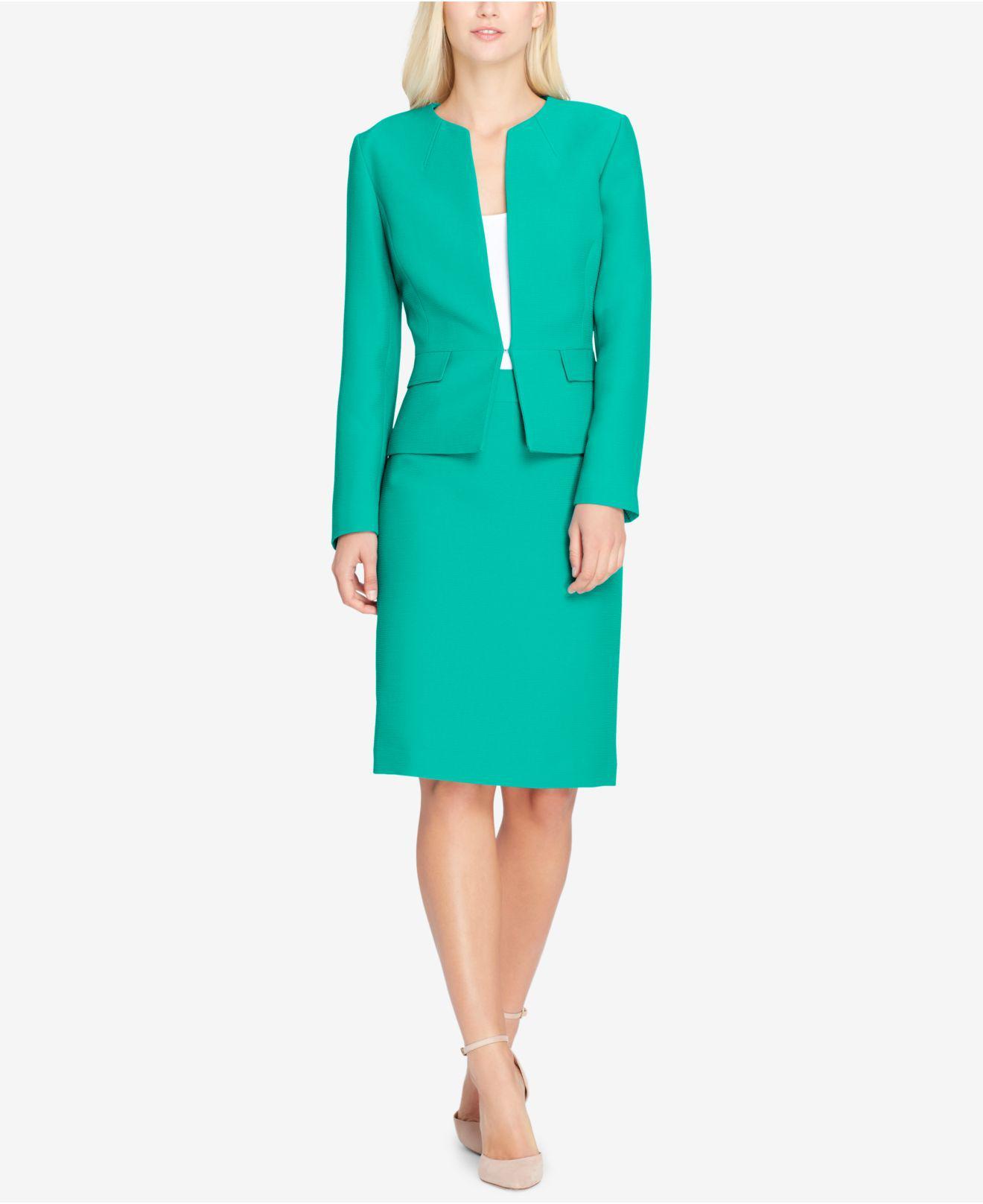 Lyst - Tahari Peplum Skirt Suit in Green - Save 47%