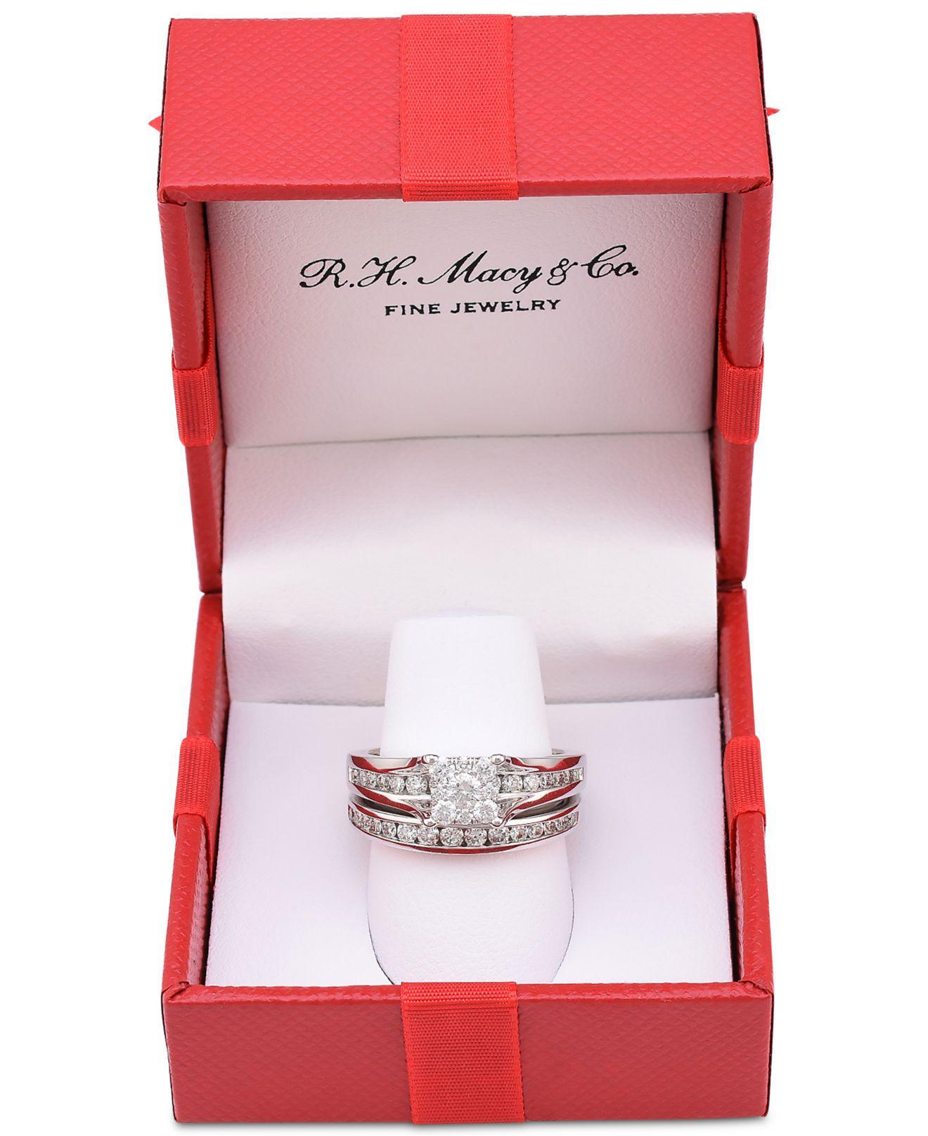 Macy s Diamond Cluster Channel set Bridal Set 1 Ct T w In 14k