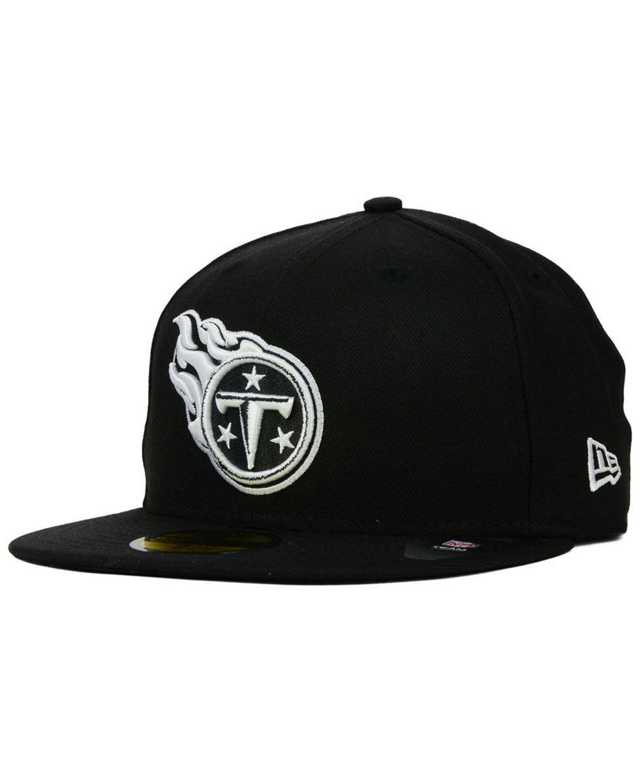 ff26d9b38 Lyst - KTZ Tennessee Titans Black And White 59fifty Fitted Cap in ...
