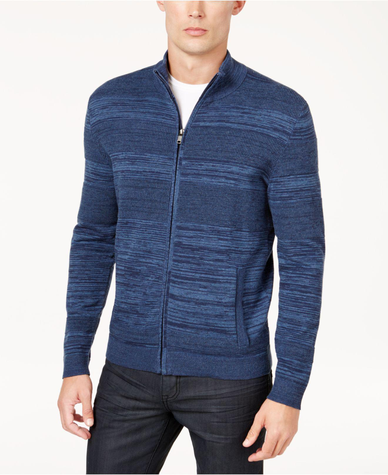 Alfani Men's Textured Zip-front Cardigan in Blue for Men | Lyst