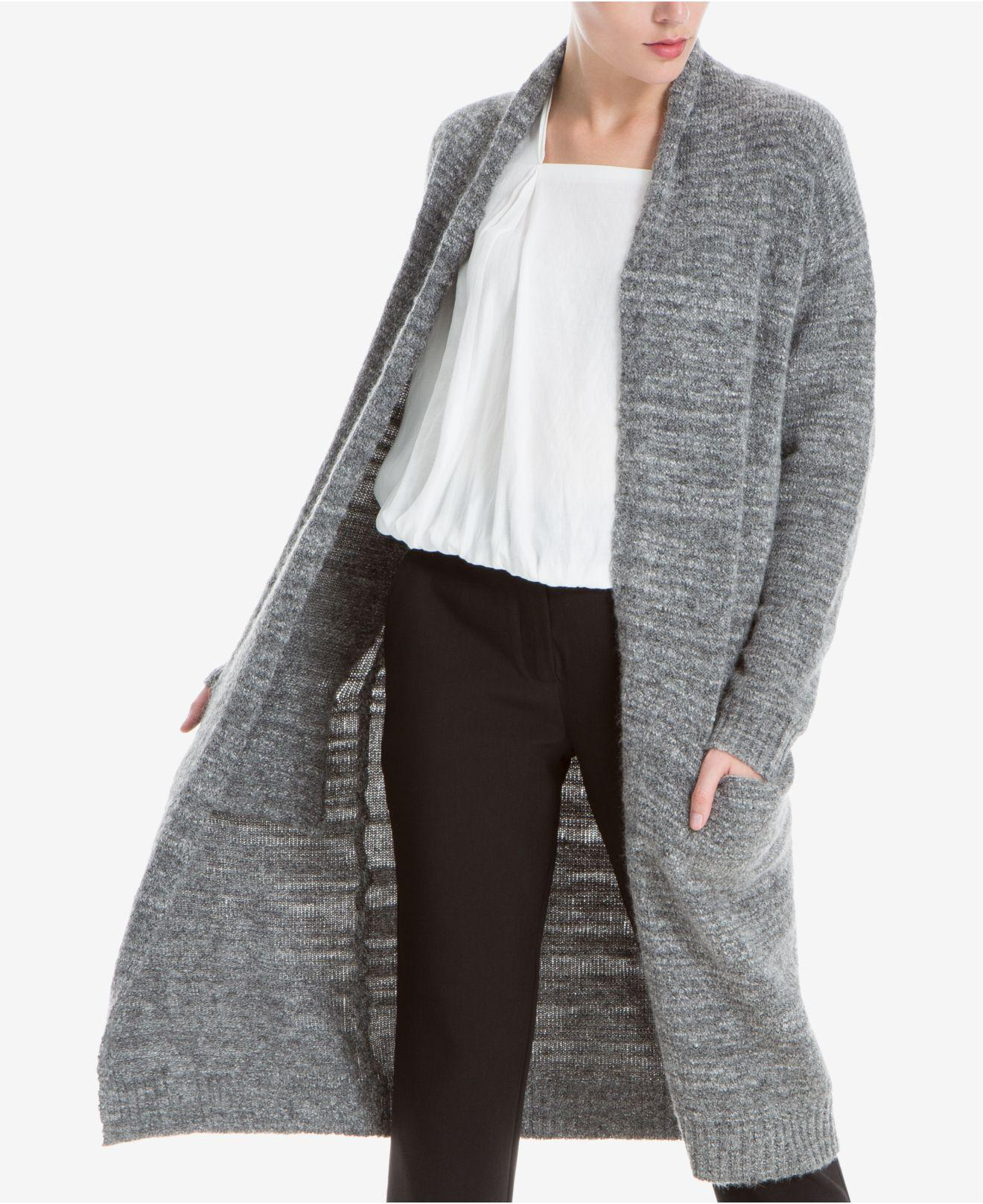 Max studio Duster Cardigan in Gray | Lyst