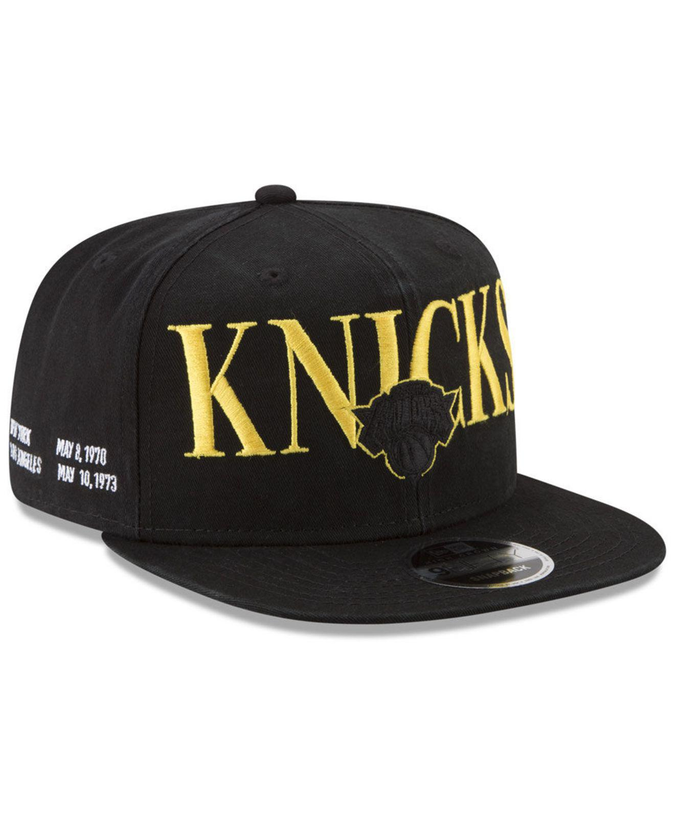 5284474b22e240 ... best price ktz. mens black new york knicks 90s throwback roadie 9fifty  snapback cap 7ef04