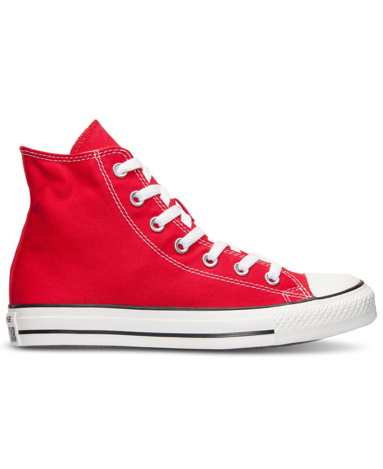 Lyst - Converse Women s Chuck Taylor Hi Top Casual Sneakers From Finish  Line in Red 1ca6a222c