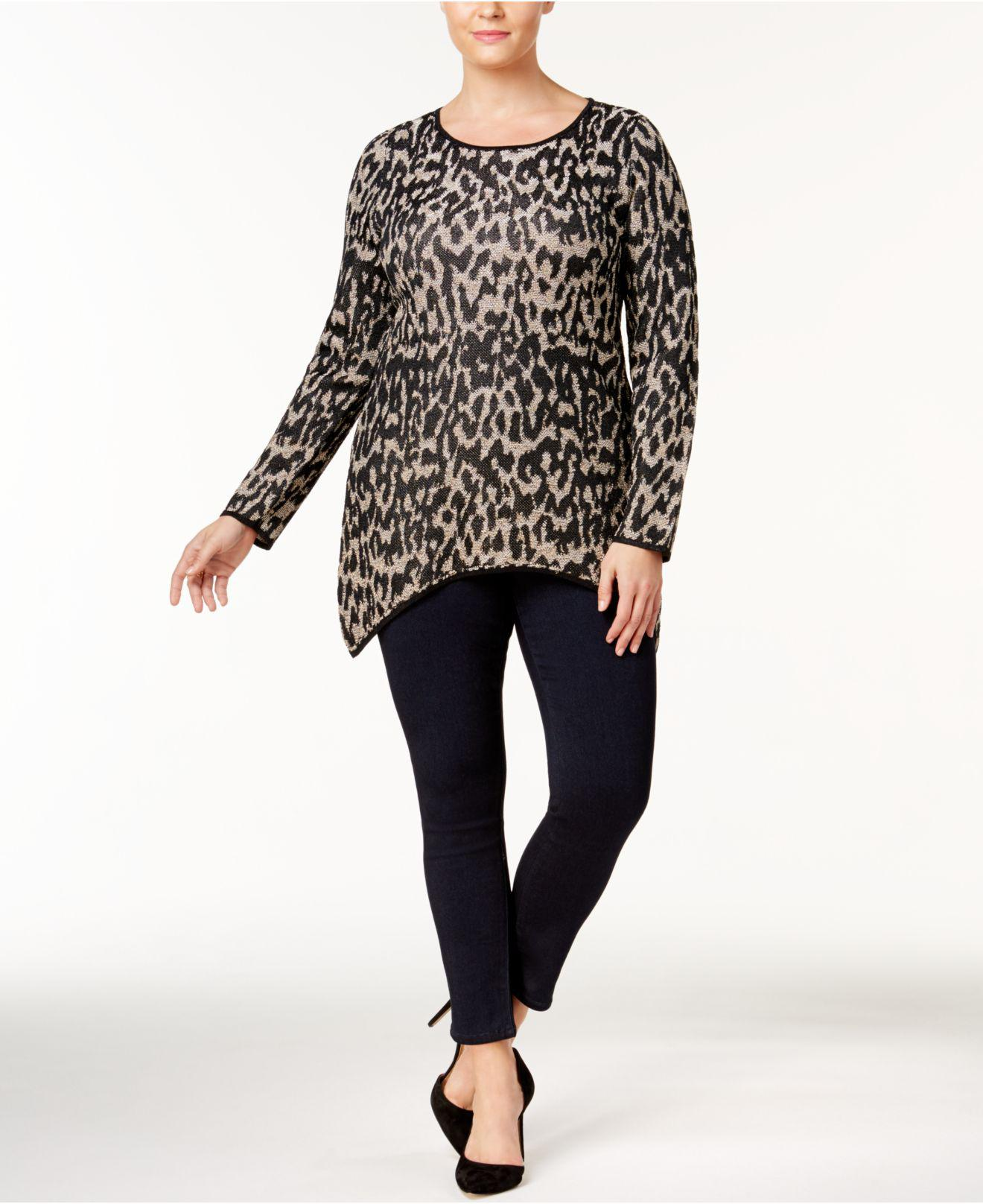 6c9befa5ae4 Lyst - Inc International Concepts Plus Size Leopard-print Tunic in Black