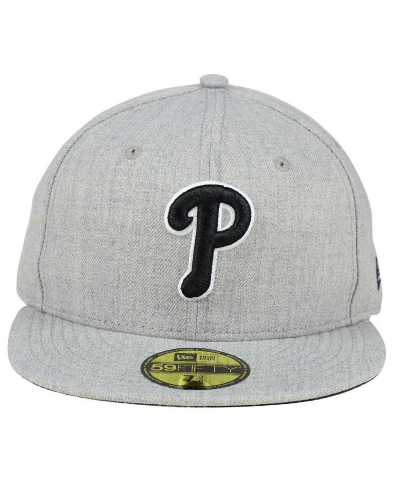 0ad4de1448e79 ... sale lyst ktz philadelphia phillies heather black white 59fifty fitted  cap in gray for men c8552