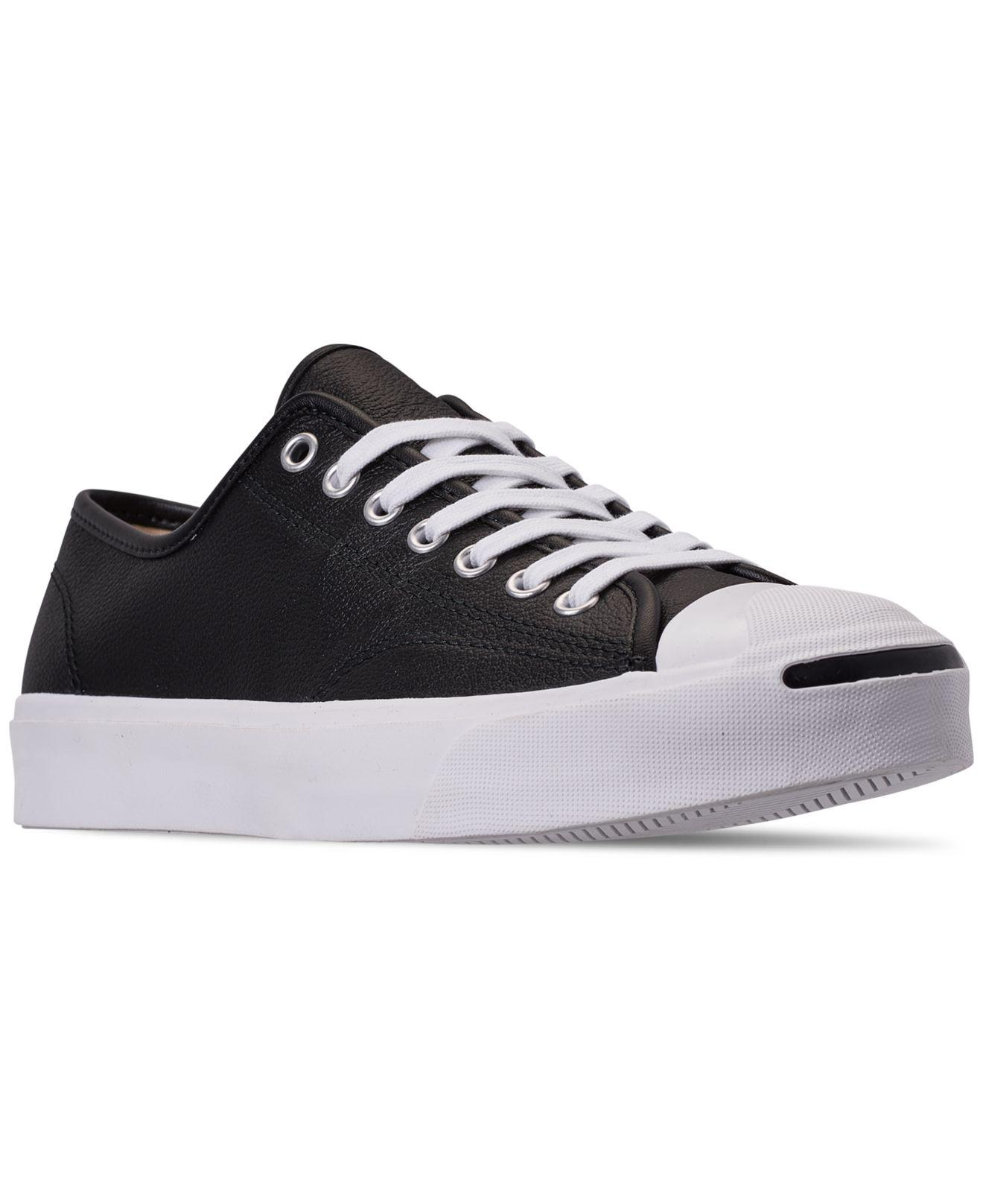 460389fbbe9d Converse. Men s Black Jack Purcell Tumbled Leather Casual Sneakers ...