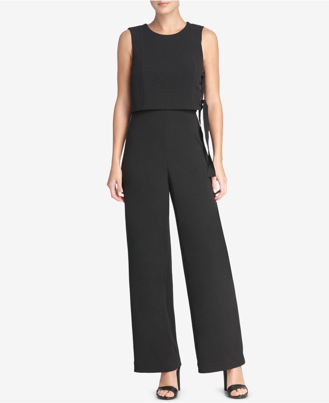 fd44b147a111 Lyst - DKNY Grommeted Popover Jumpsuit