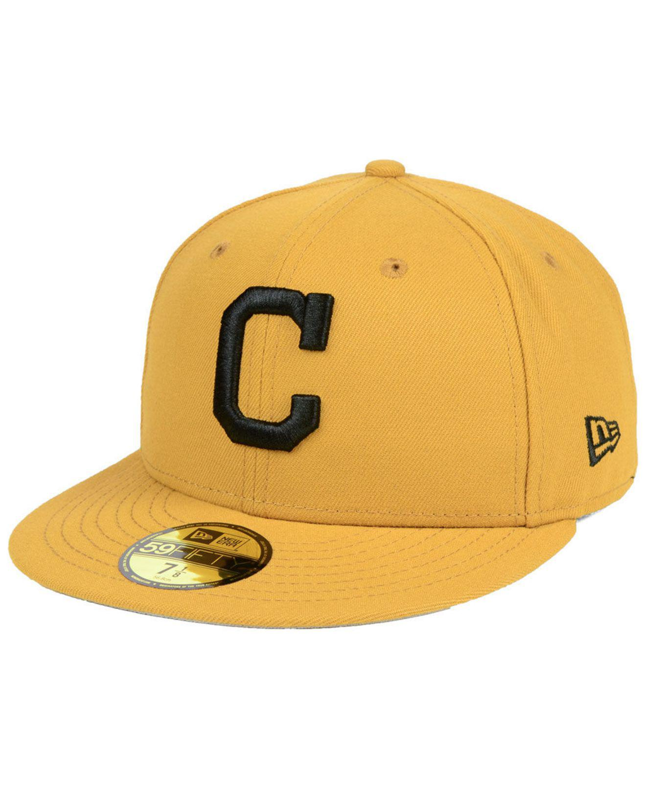 wholesale dealer 83ce9 8425c ... low price ktz. mens yellow cleveland indians reverse c dub 59fifty  fitted cap 49613 69bd1
