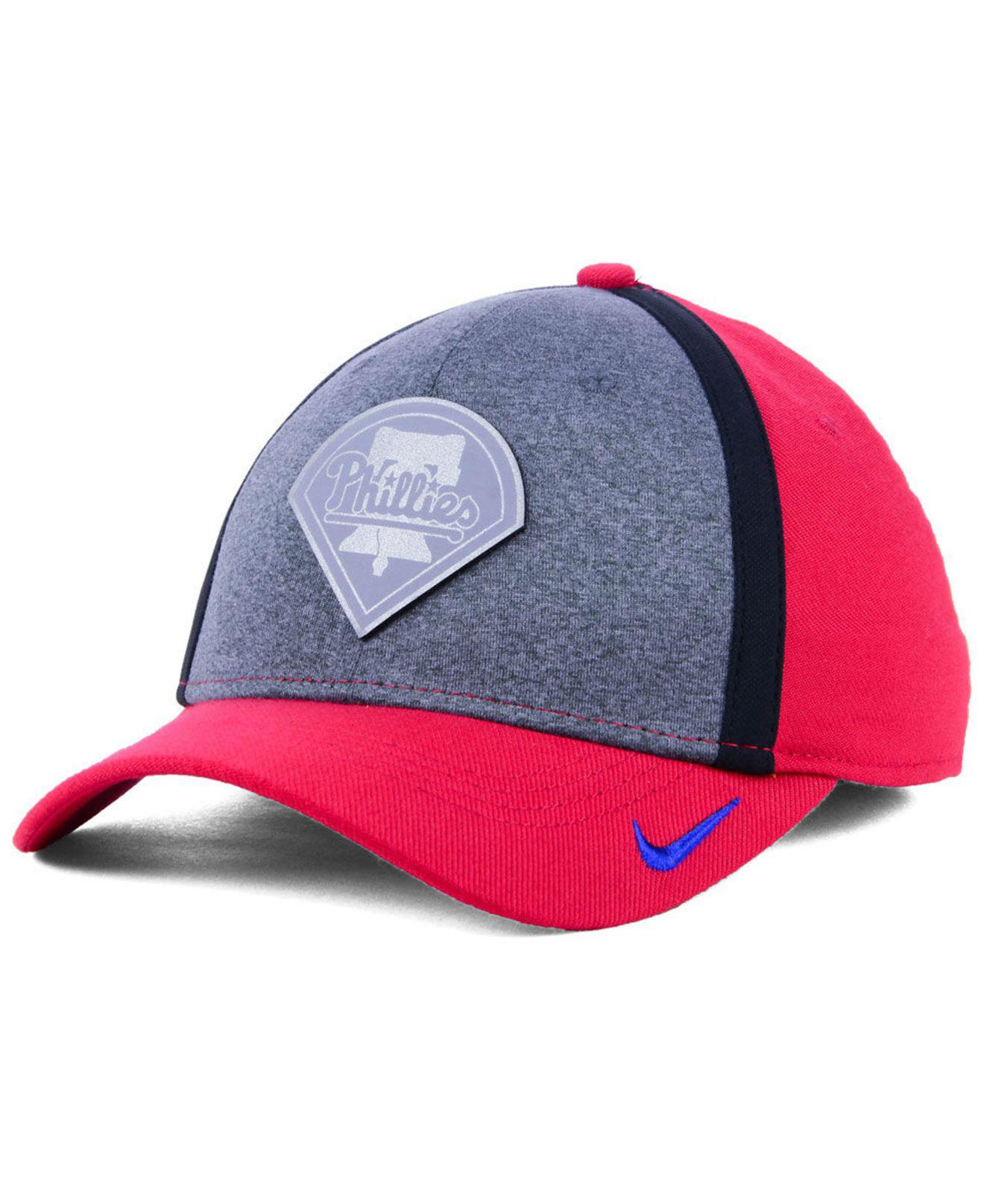 low cost 281b1 30dd0 ... greece nike. mens red philadelphia phillies team color reflective  swooshflex cap f6090 db118