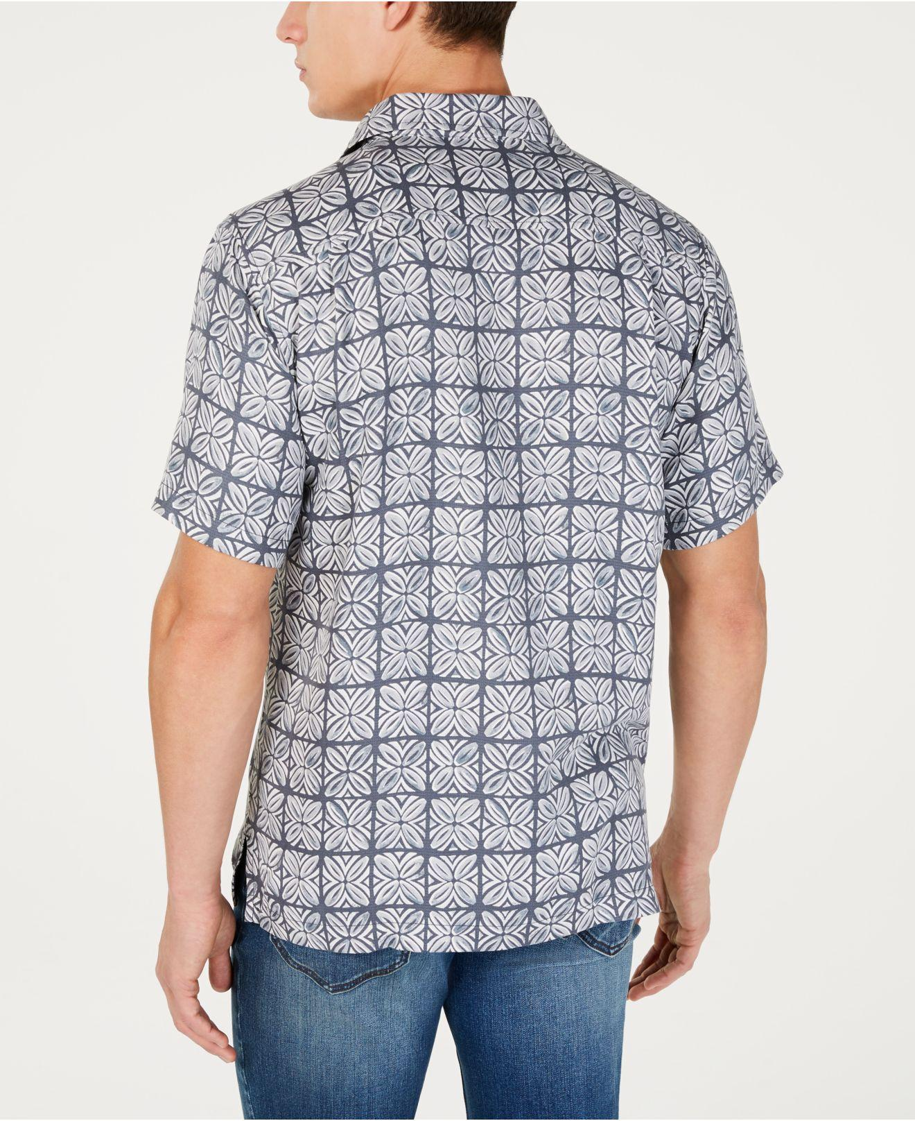 c5a7da6cf6d Lyst - Tommy Bahama Regular-fit Tonal Geo-print Silk Camp Shirt ...
