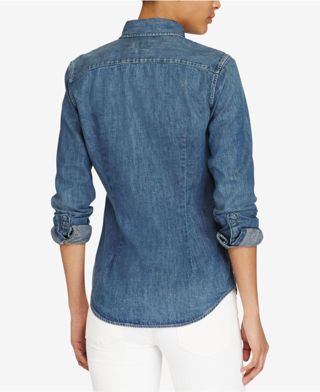 e44dae82fe Lyst - Polo Ralph Lauren Custom Fit Denim Shirt in Blue - Save 2%