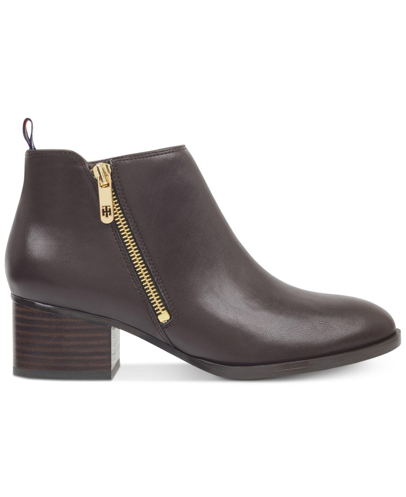 3596bd0e630b Lyst - Tommy Hilfiger Ruthee Block-heel Ankle Booties in Brown