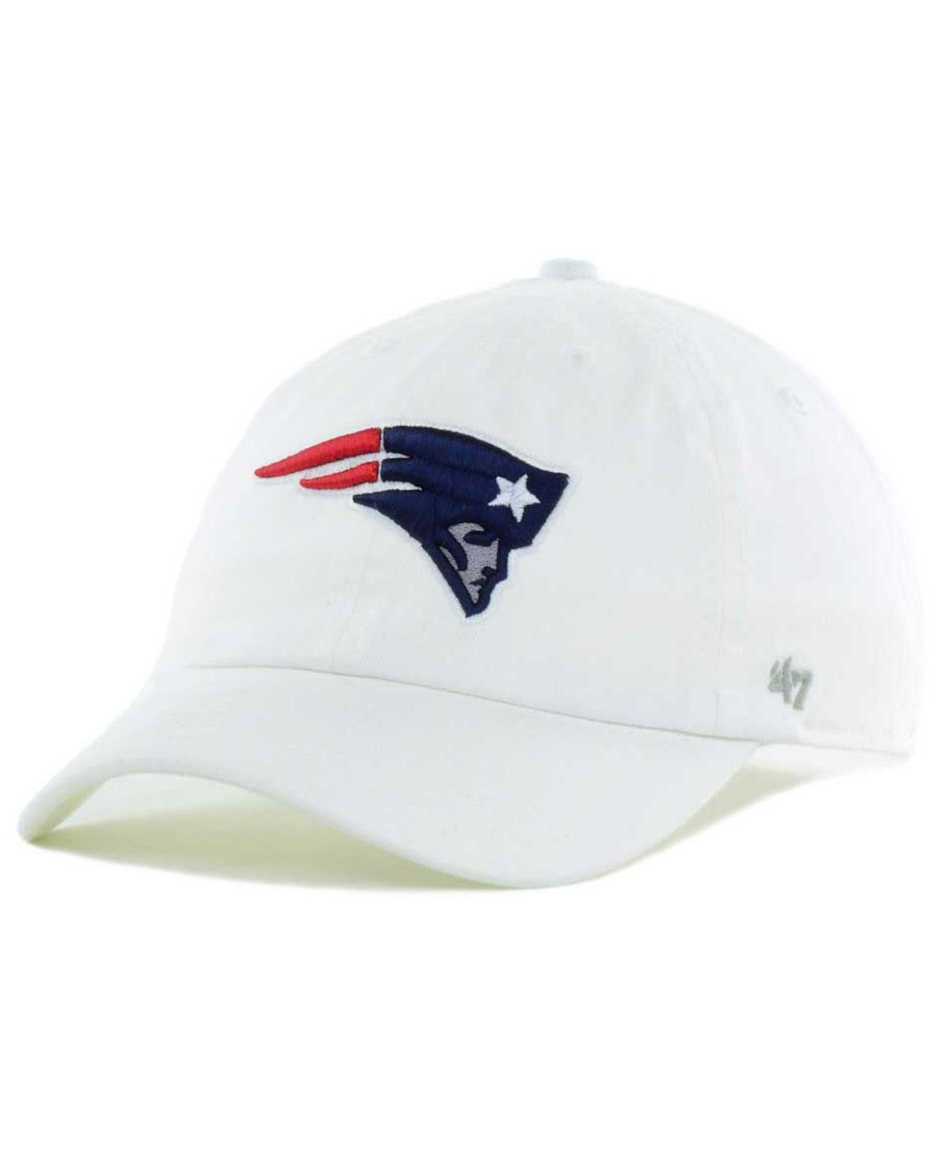 21eddd04b1e Lyst - 47 Brand New England Patriots Clean Up Strapback Cap in White ...