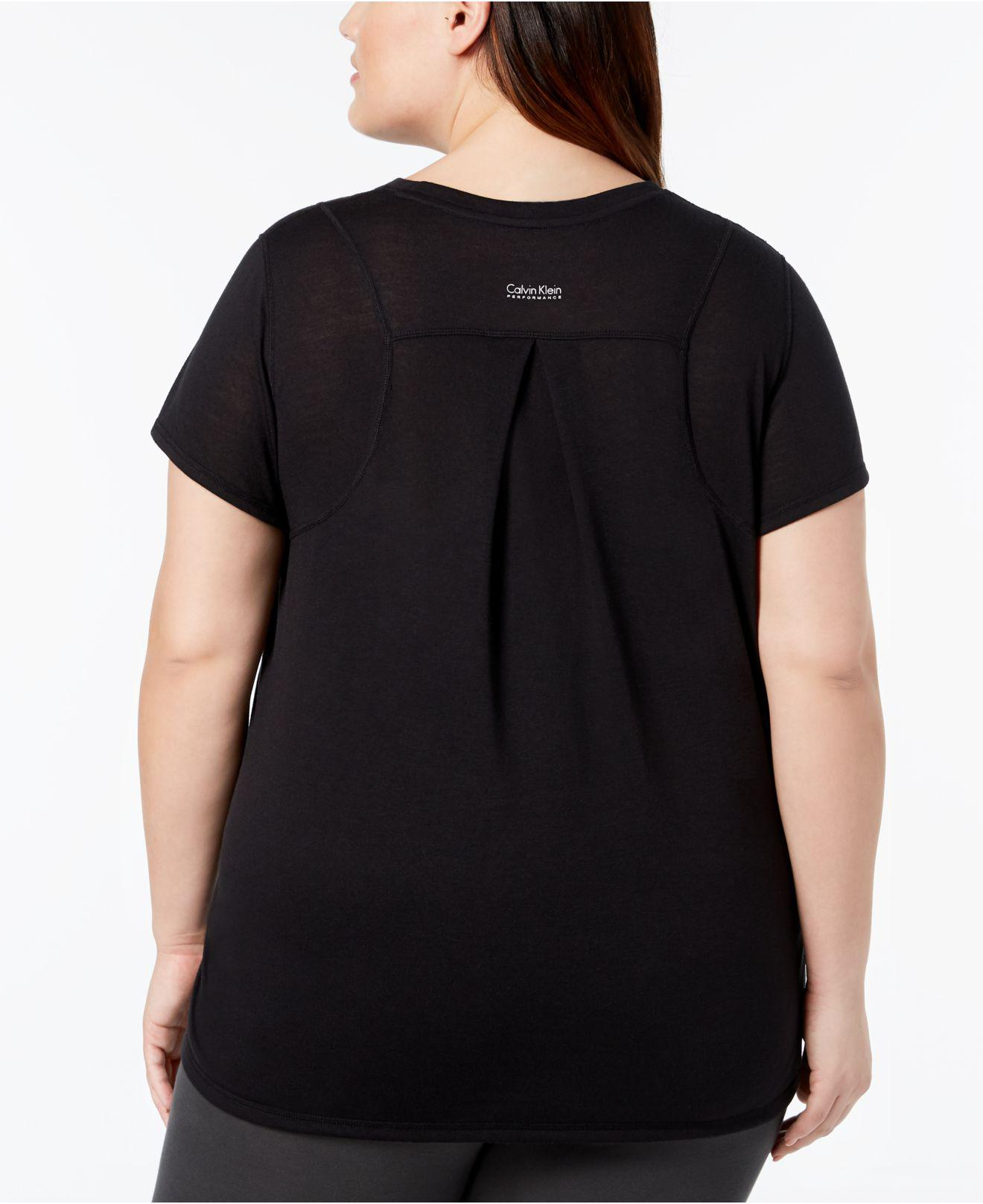 55c388cfd2e Lyst - Calvin Klein Performance Plus Size Heathered Pleated-back T-shirt in  Black