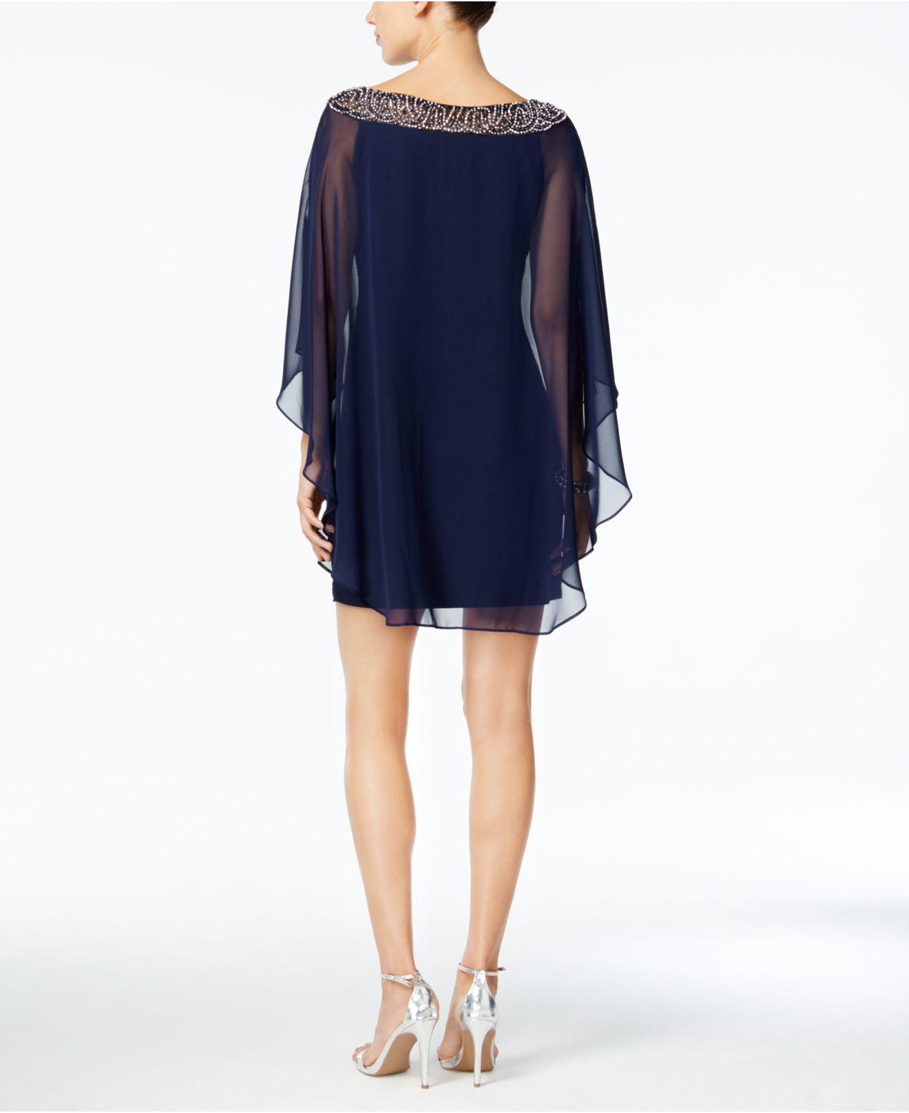 c2b23c6e3dba6 Xscape Embellished Chiffon Petite Cape-overlay Dress in Blue - Lyst