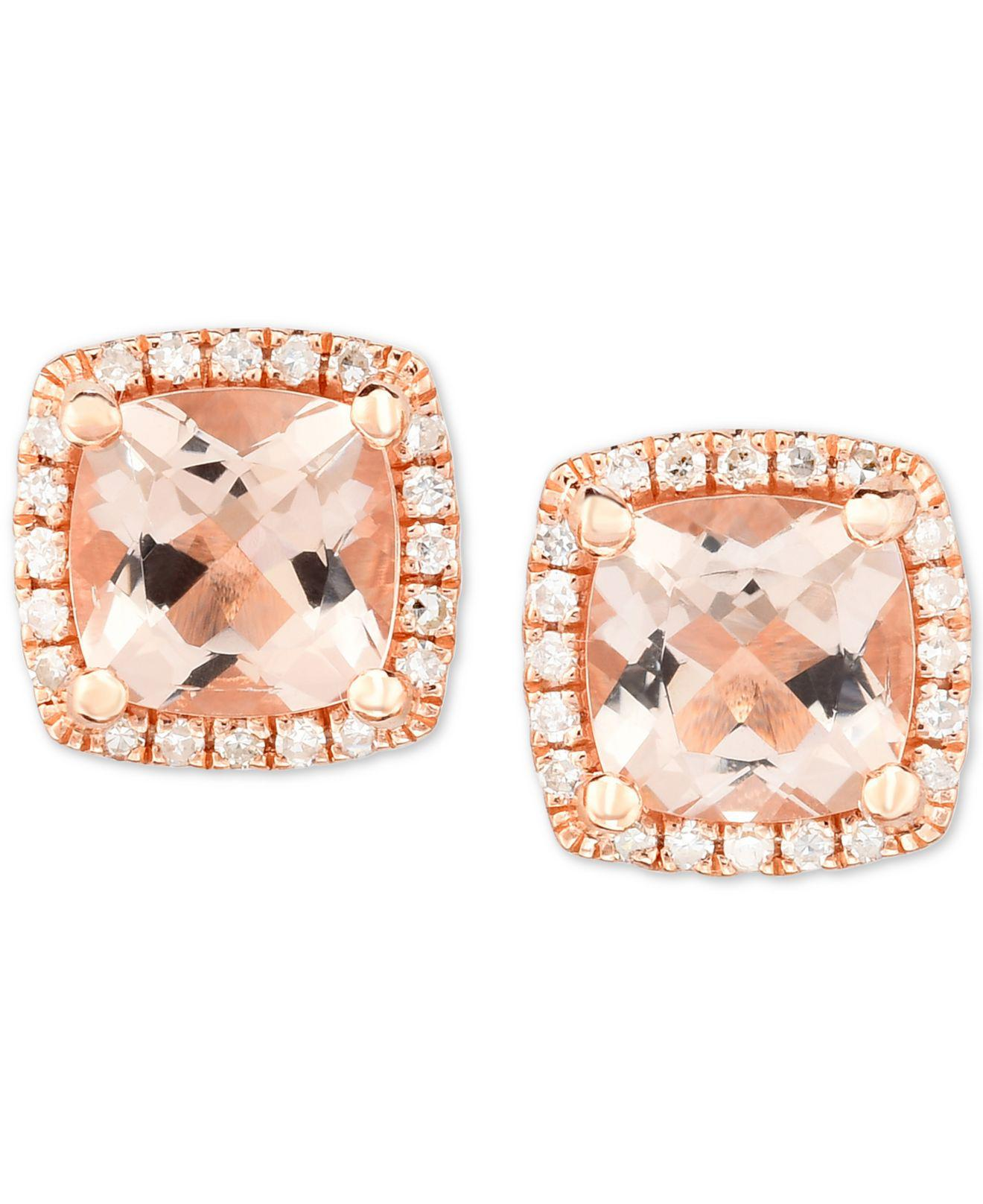 large p morganite context gold and halo earrings stud rose diamond