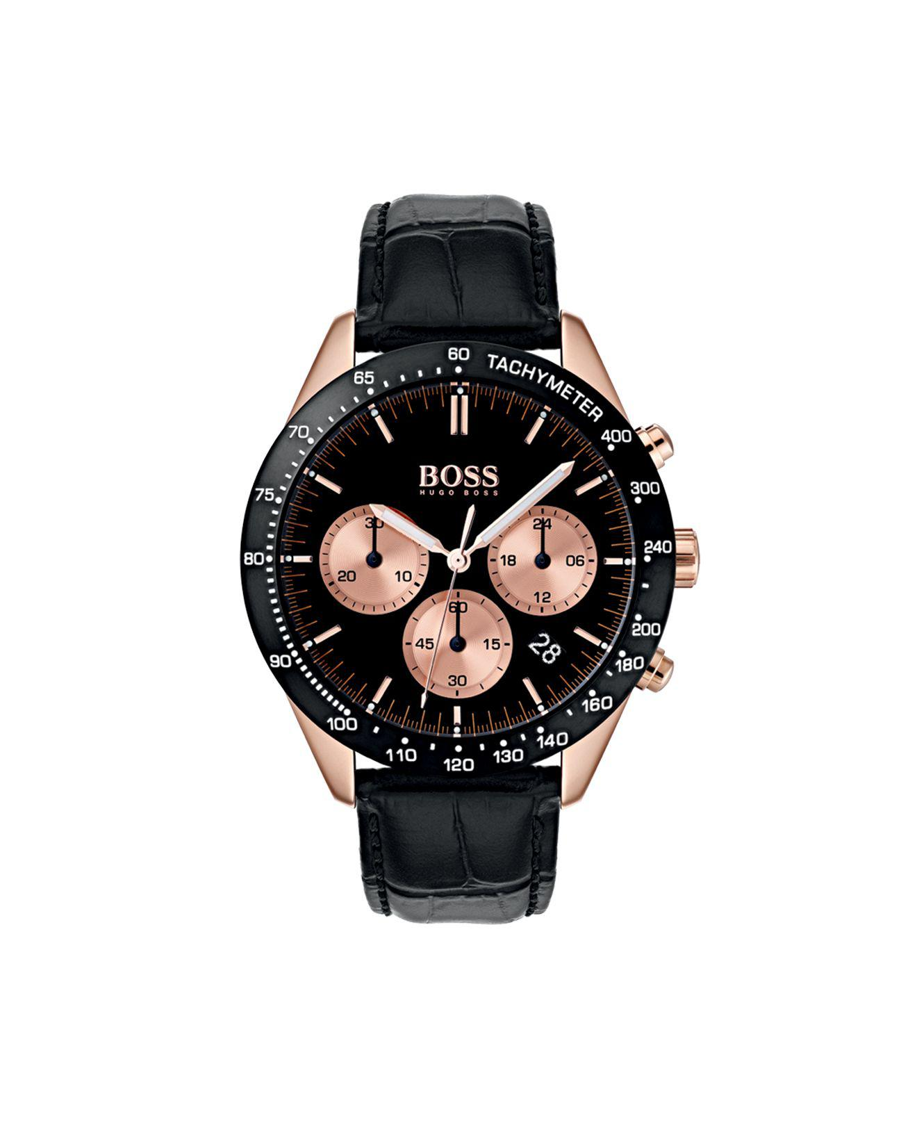 6fa98c87b84 BOSS - Chronograph Watch With Black And Rose-gold Plating for Men - Lyst.  View fullscreen