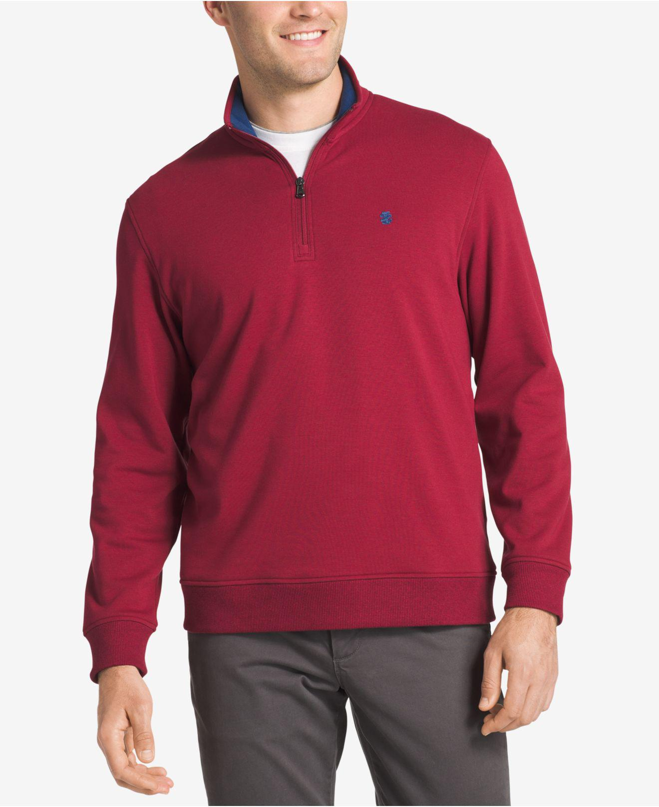 Izod Men's Advantage Stretch Quarter-zip Sweater in Red for Men | Lyst