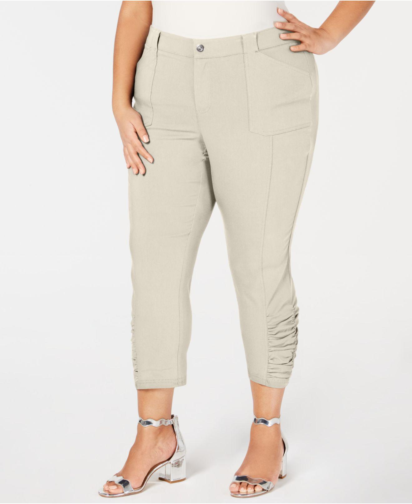 e849c2afb1d INC International Concepts. Women s Natural I.n.c. Plus Size Ruched-hem  Cropped Pants ...