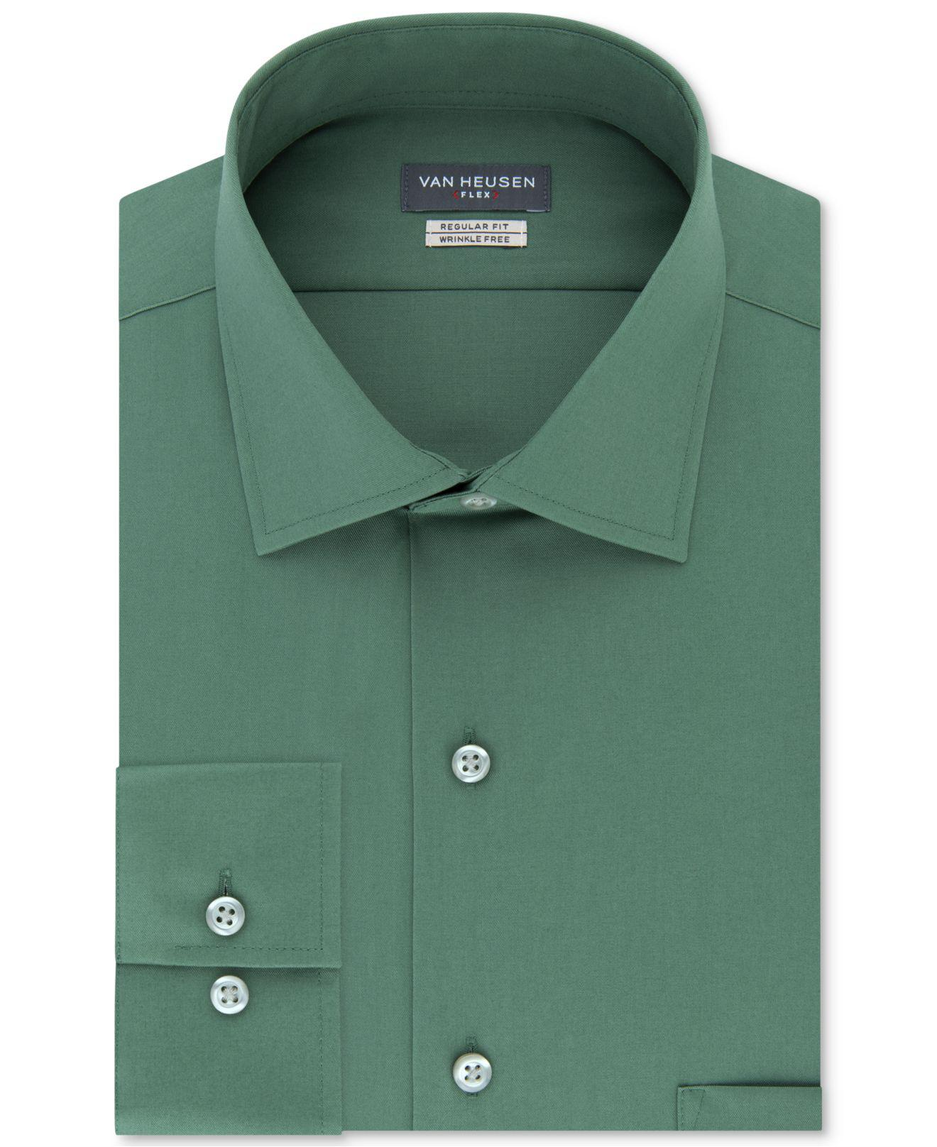 ca8e98a0e3d Van Heusen. Men s Green Classic-fit Wrinkle Free Flex Collar Stretch Solid  Dress Shirt
